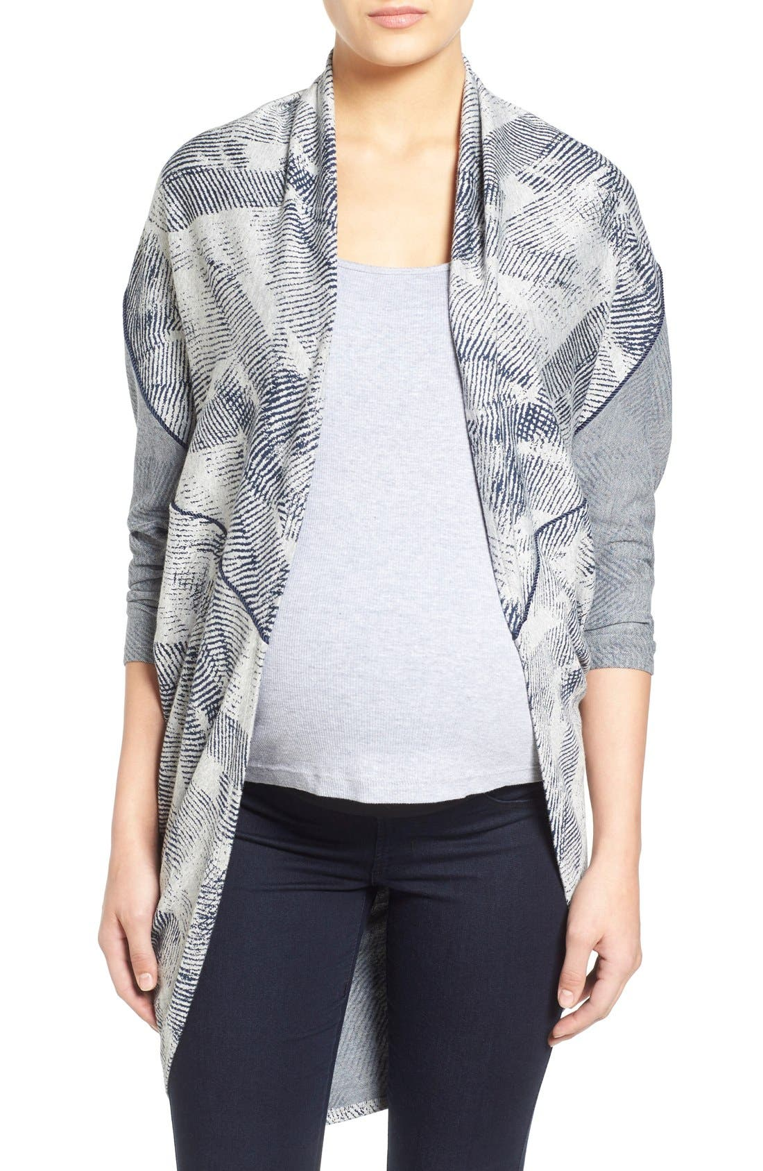 'Meesha' Open Front Maternity Cardigan,                             Main thumbnail 1, color,                             HEATHER GREY/NAVY