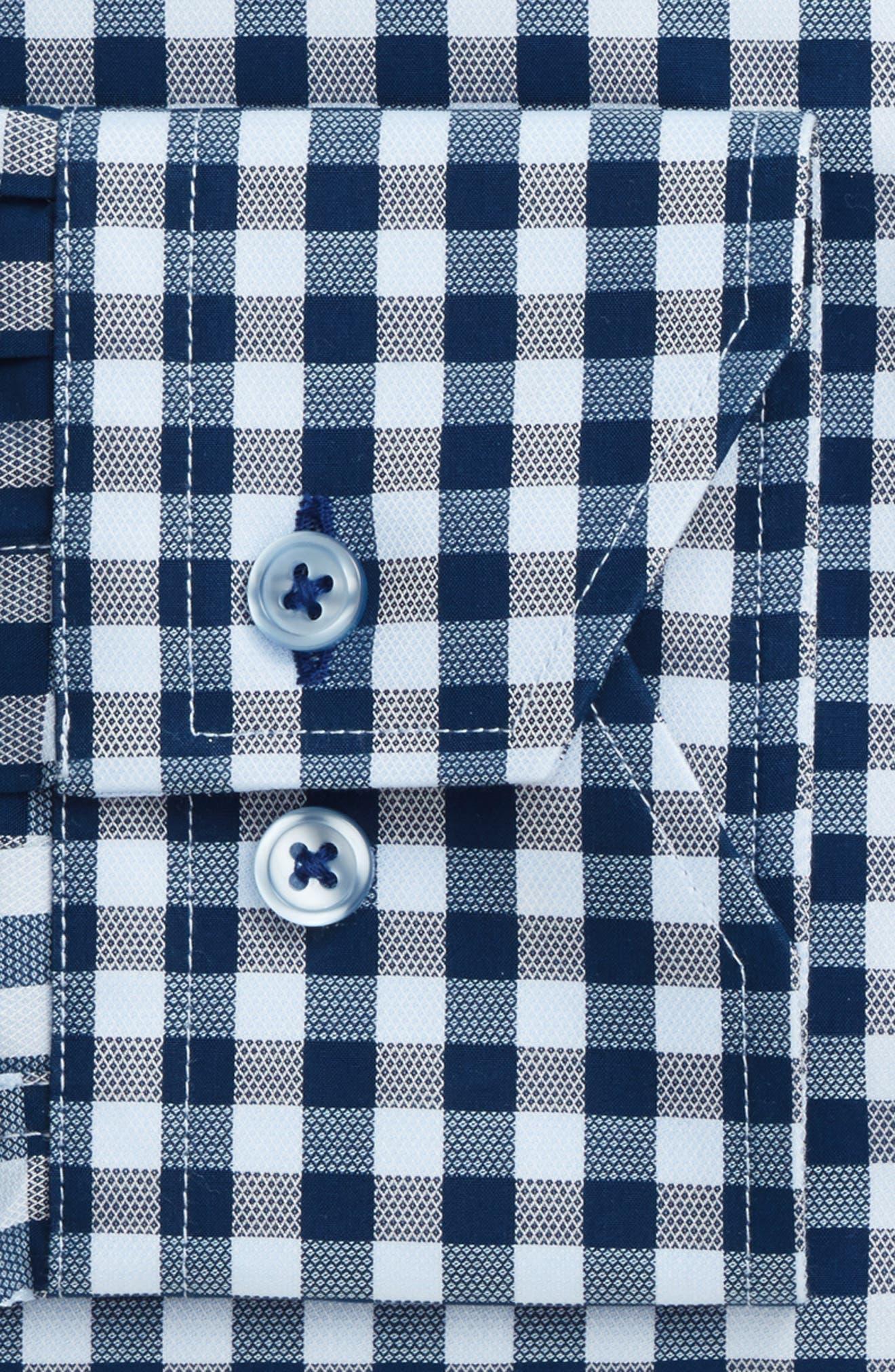 Trim Fit Check Dress Shirt,                             Alternate thumbnail 4, color,                             NAVY