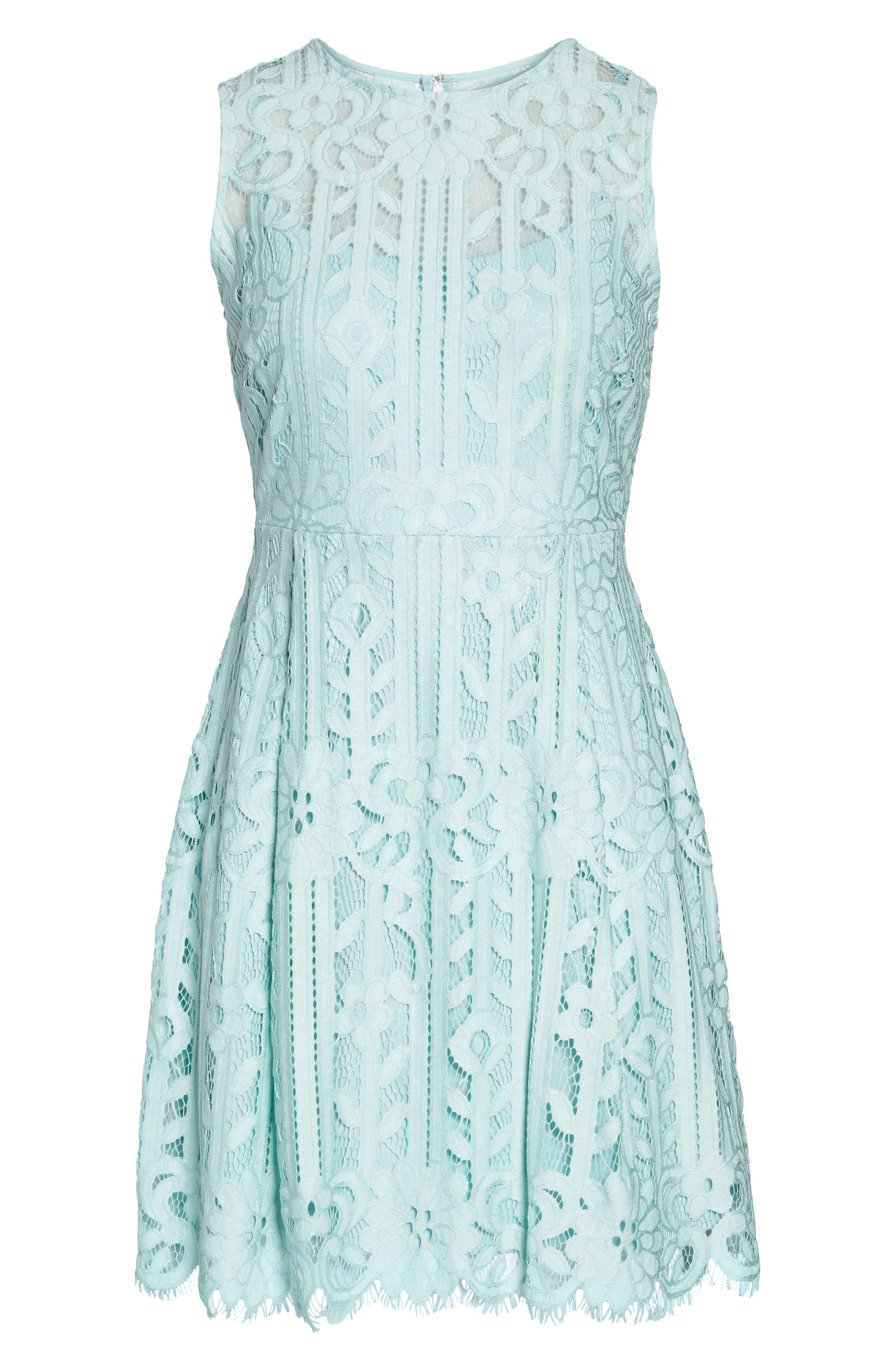 JULIA JORDAN,                             Sleeveless Lace Dress,                             Alternate thumbnail 7, color,                             332