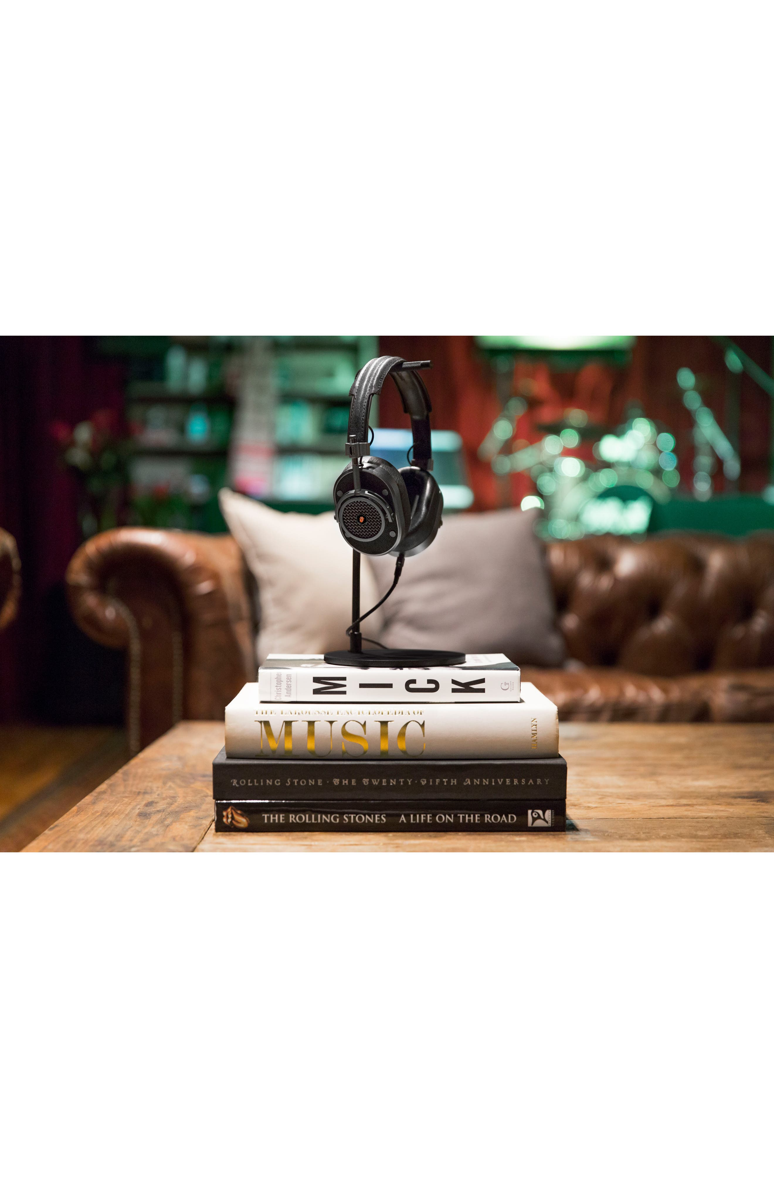 MH40 Leather Over Ear Headphones,                             Alternate thumbnail 4, color,                             ROLLING STONE BLACK