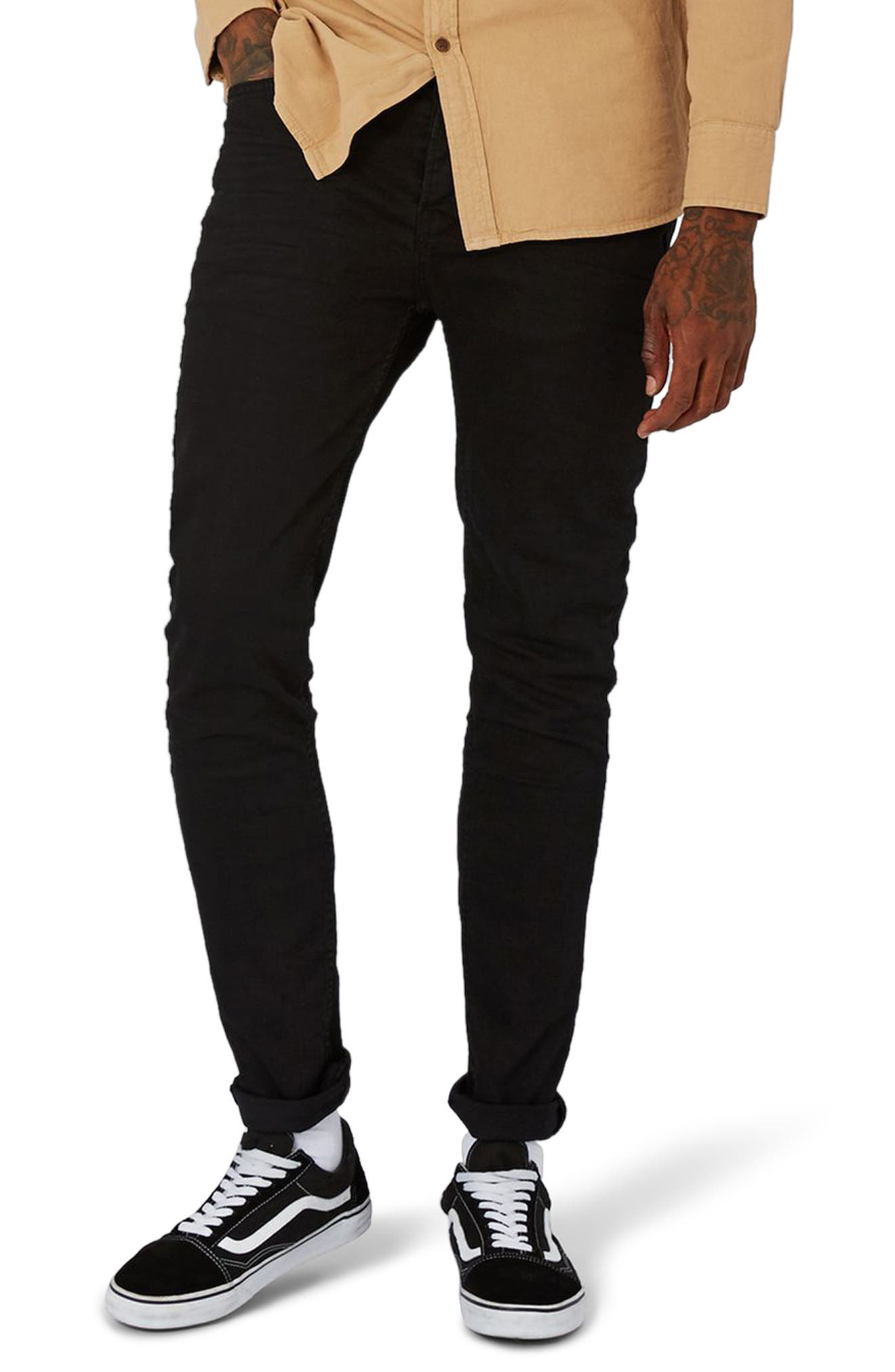 TOPMAN,                             Overdyed Stretch Skinny Jeans,                             Main thumbnail 1, color,                             001