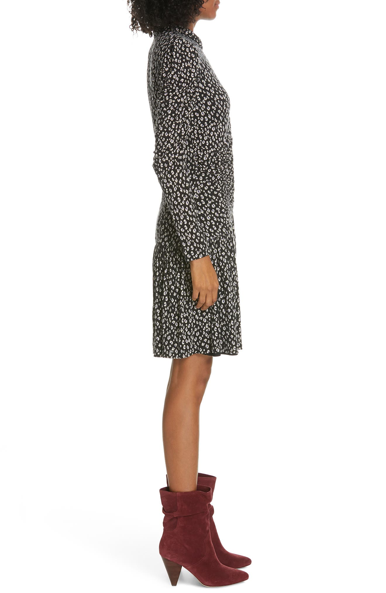 Cheetah Ruched Jersey Dress,                             Alternate thumbnail 3, color,                             BLACK COMBO