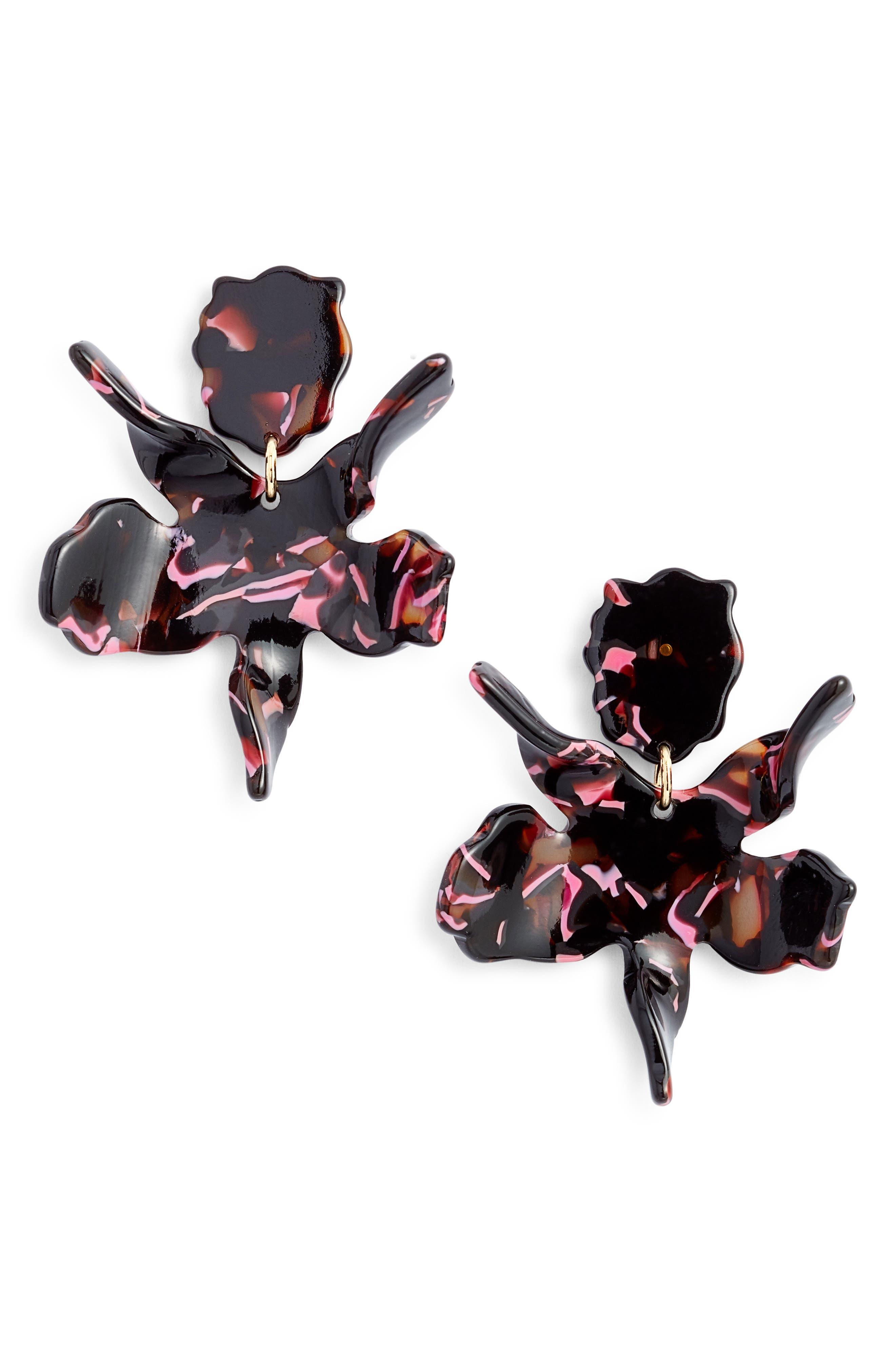 Small Paper Lily Drop Earrings,                         Main,                         color, BLACK CHERRY