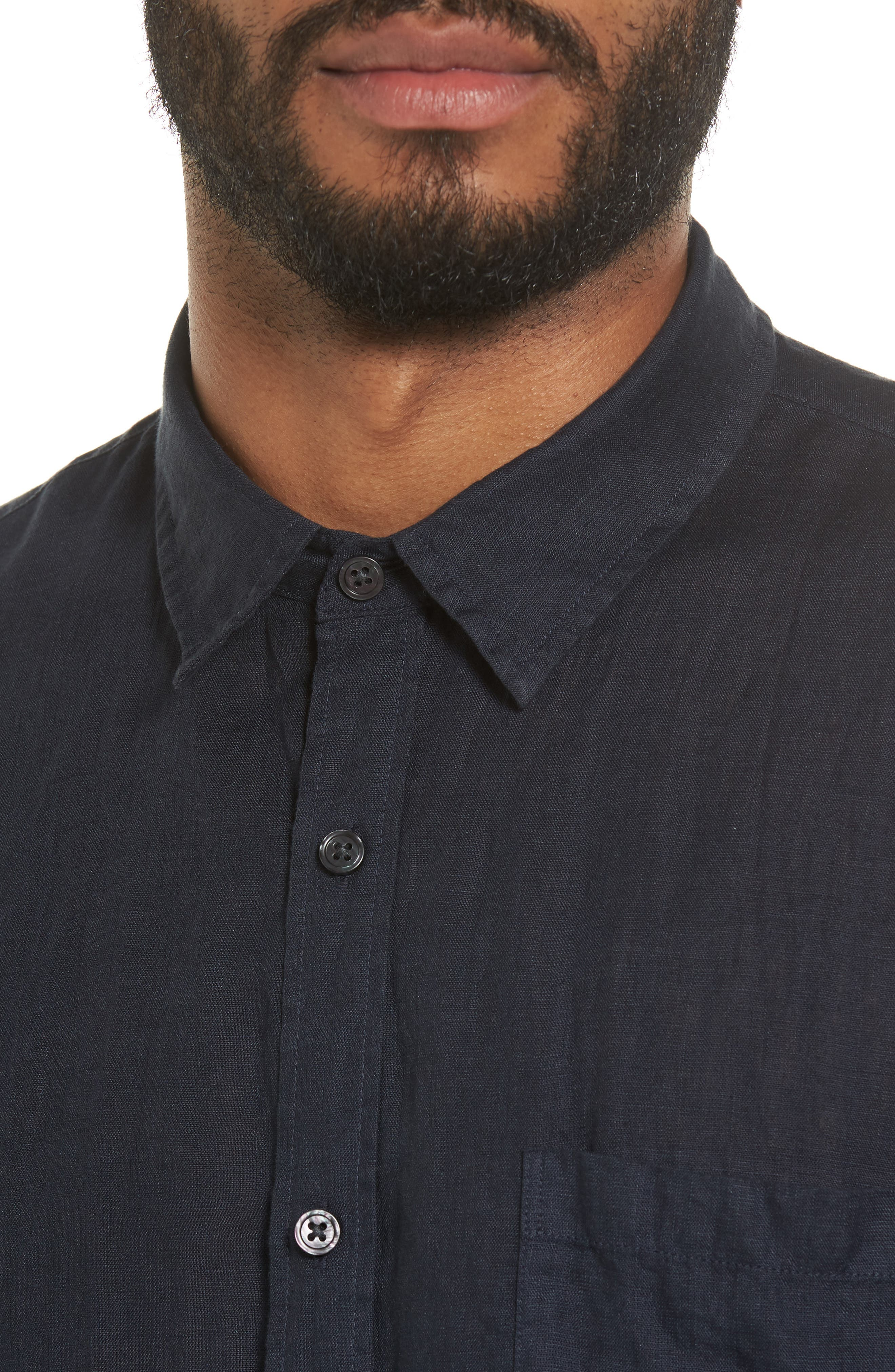 Trim Fit Linen Sport Shirt,                             Alternate thumbnail 4, color,                             403
