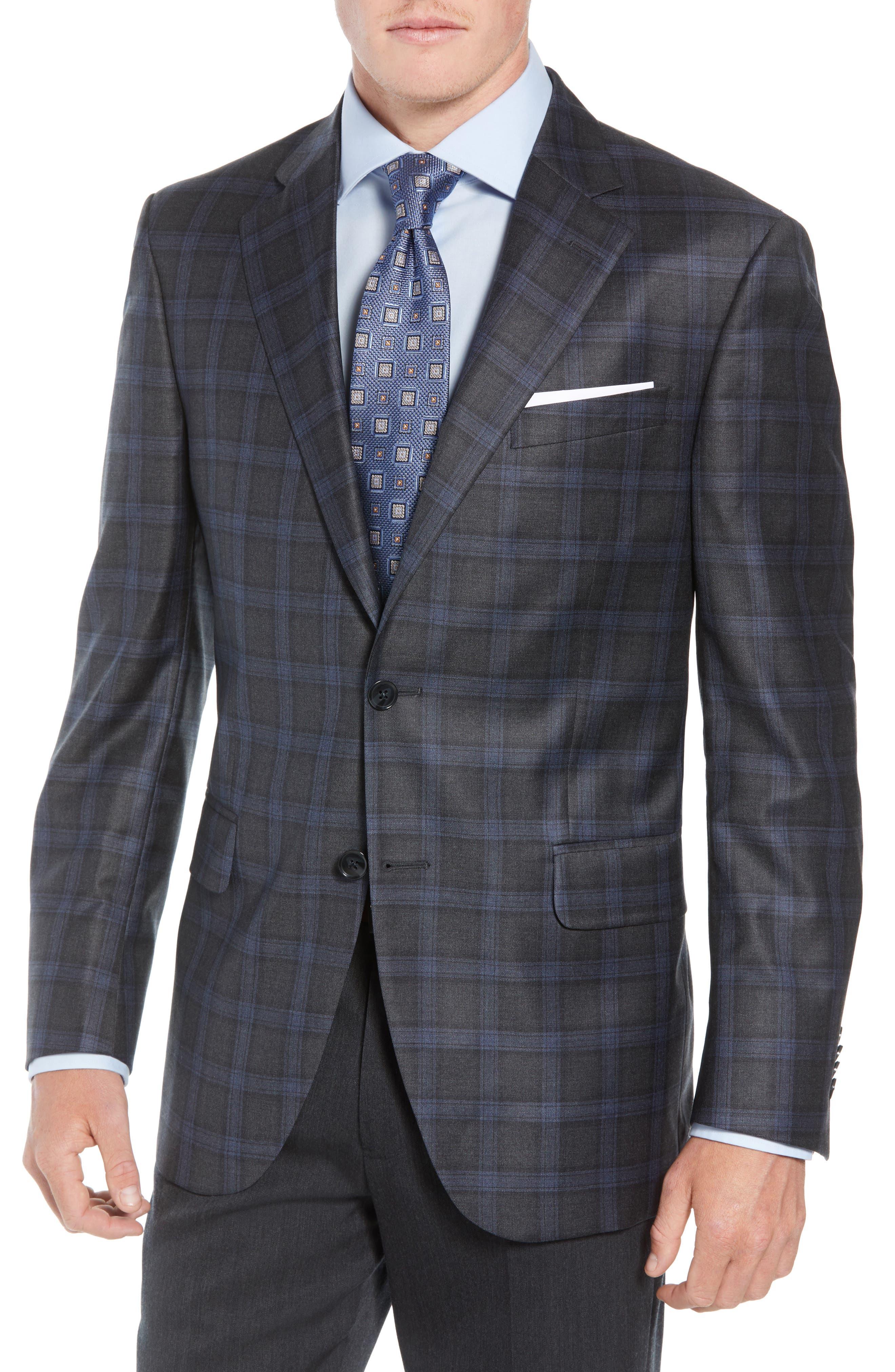 Classic Fit Windowpane Wool Sport Coat,                         Main,                         color, GREY
