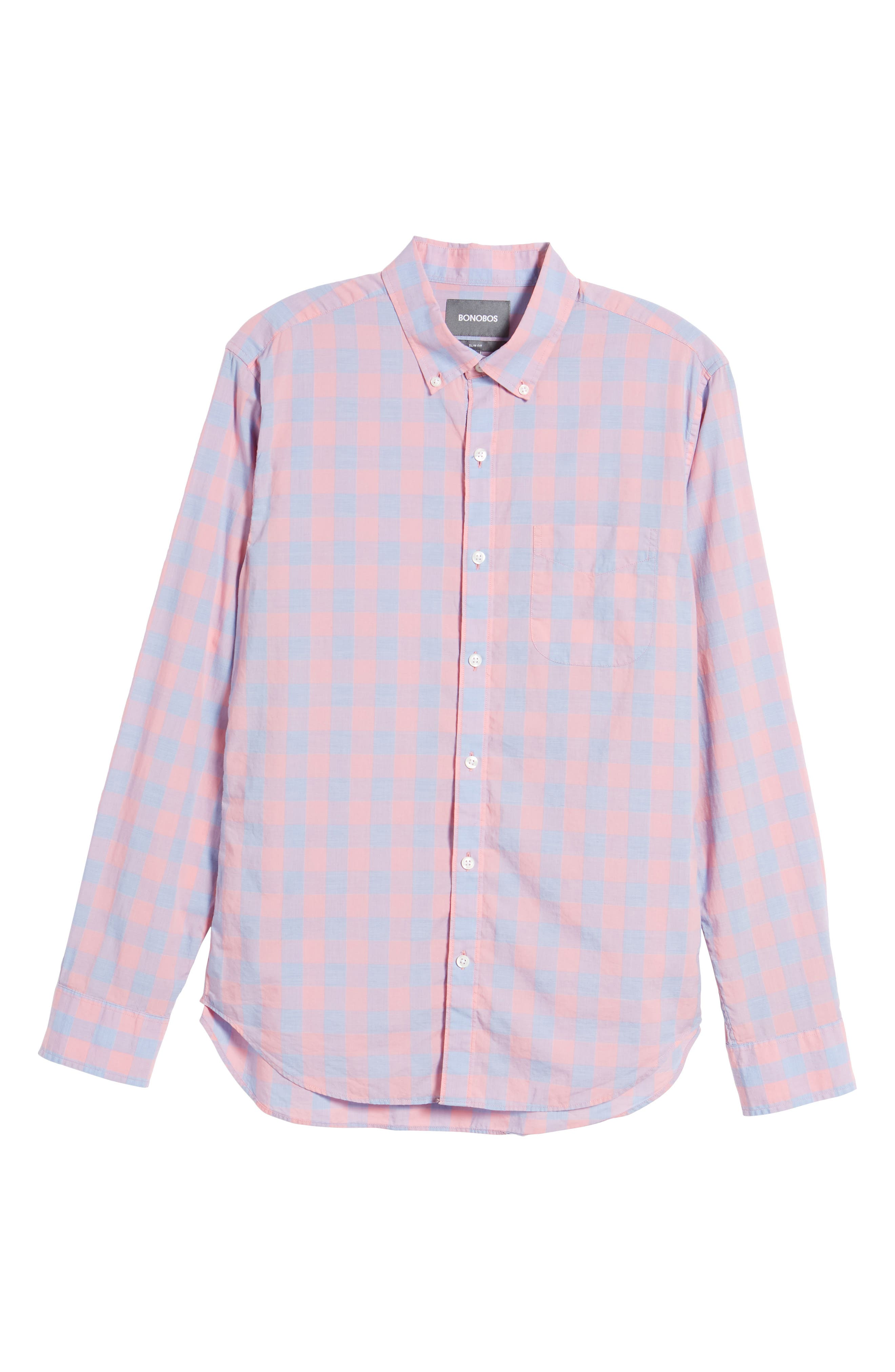 Summerweight Slim Fit Gingham Sport Shirt,                             Alternate thumbnail 6, color,                             650