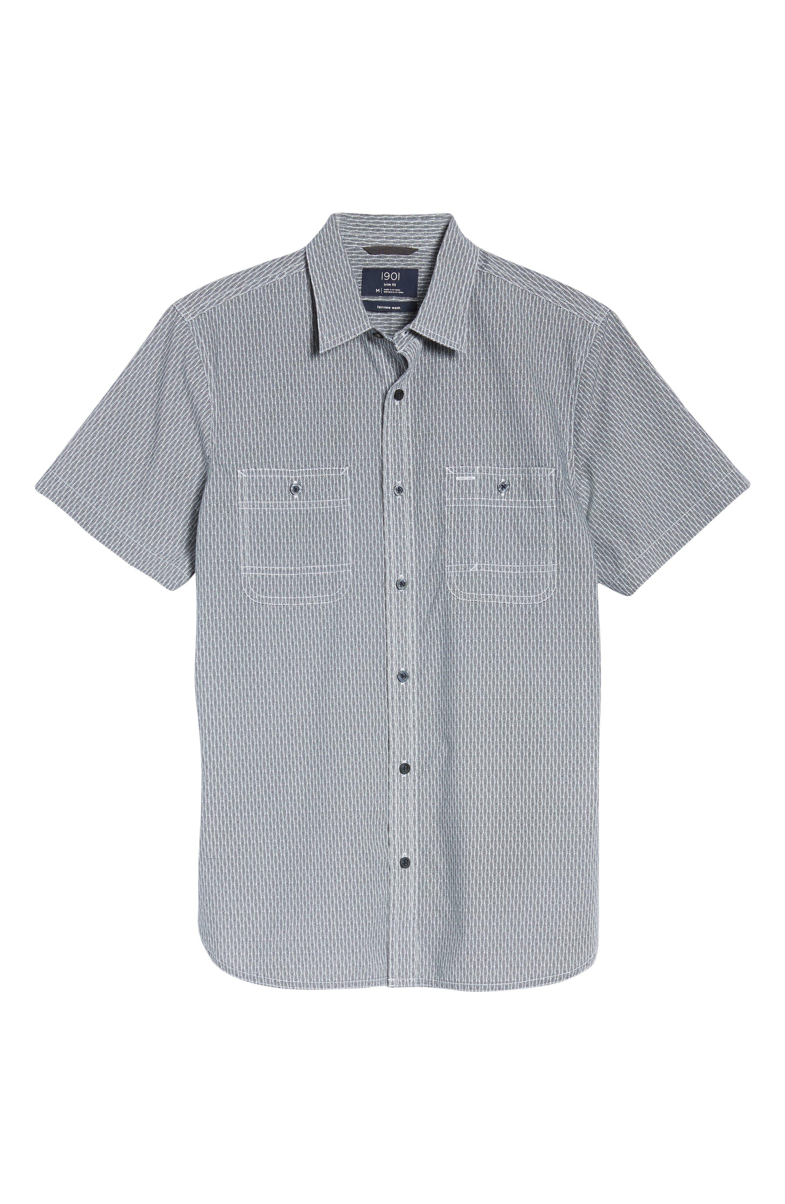 Workwear Trim Fit Print Sport Shirt,                             Alternate thumbnail 6, color,