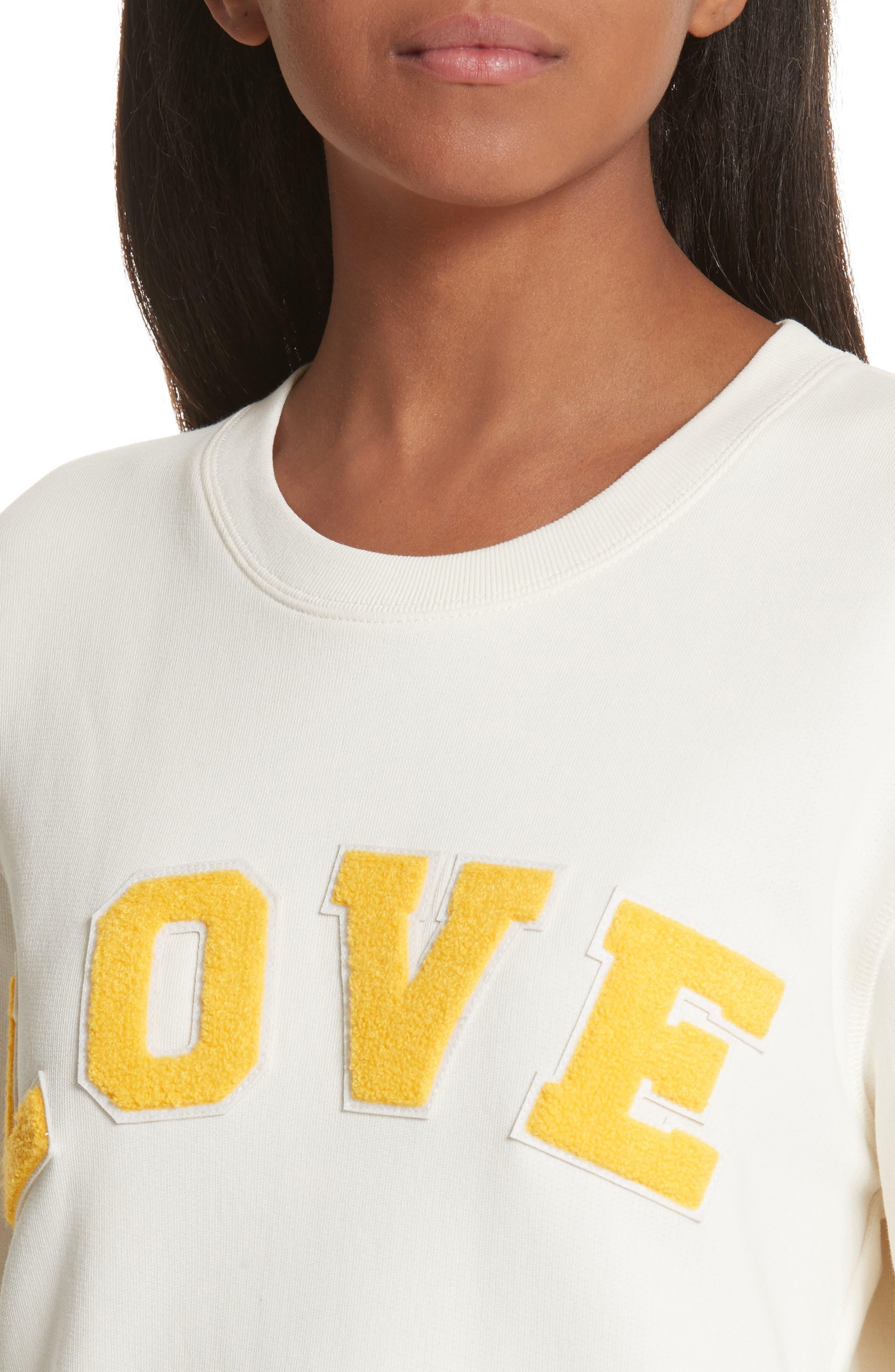 Love Cotton Terry Sweatshirt,                             Alternate thumbnail 4, color,                             IVORY PEARL/ SUNDANCE