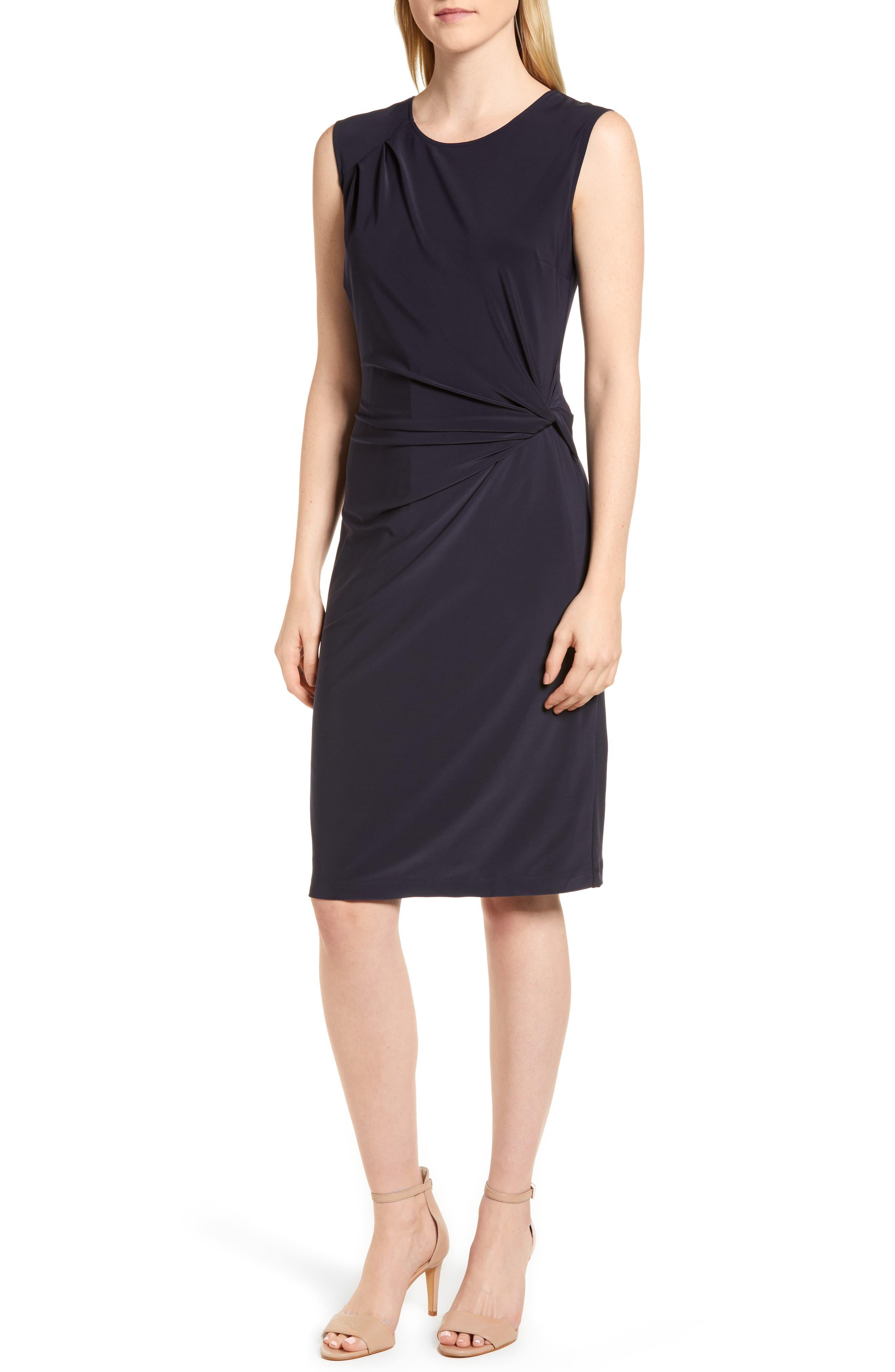 Nic+Zoe Twist Side Matte Jersey Dress, Blue