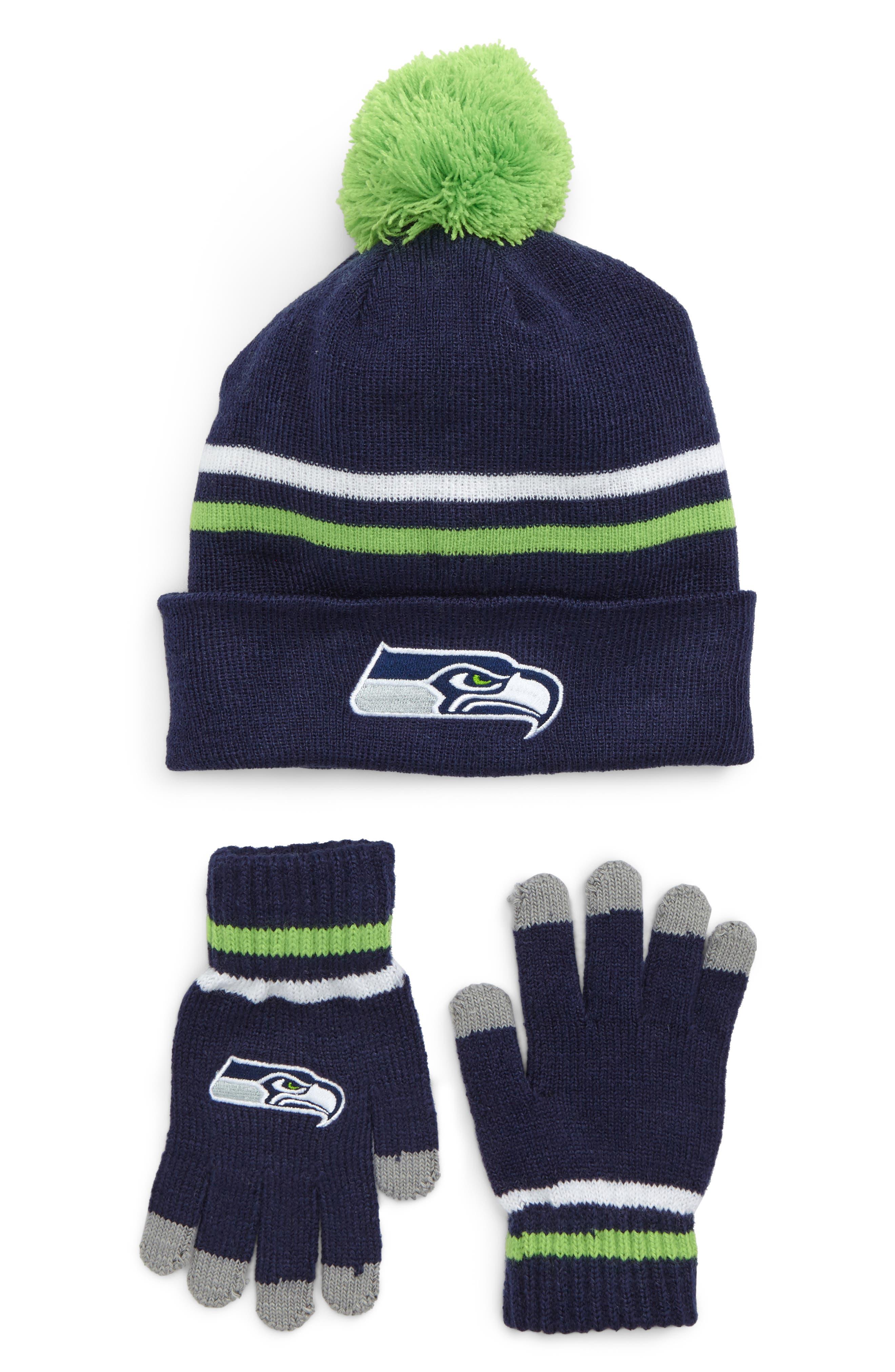 NFL Logo Pom Beanie & Tech Gloves Set,                             Main thumbnail 4, color,