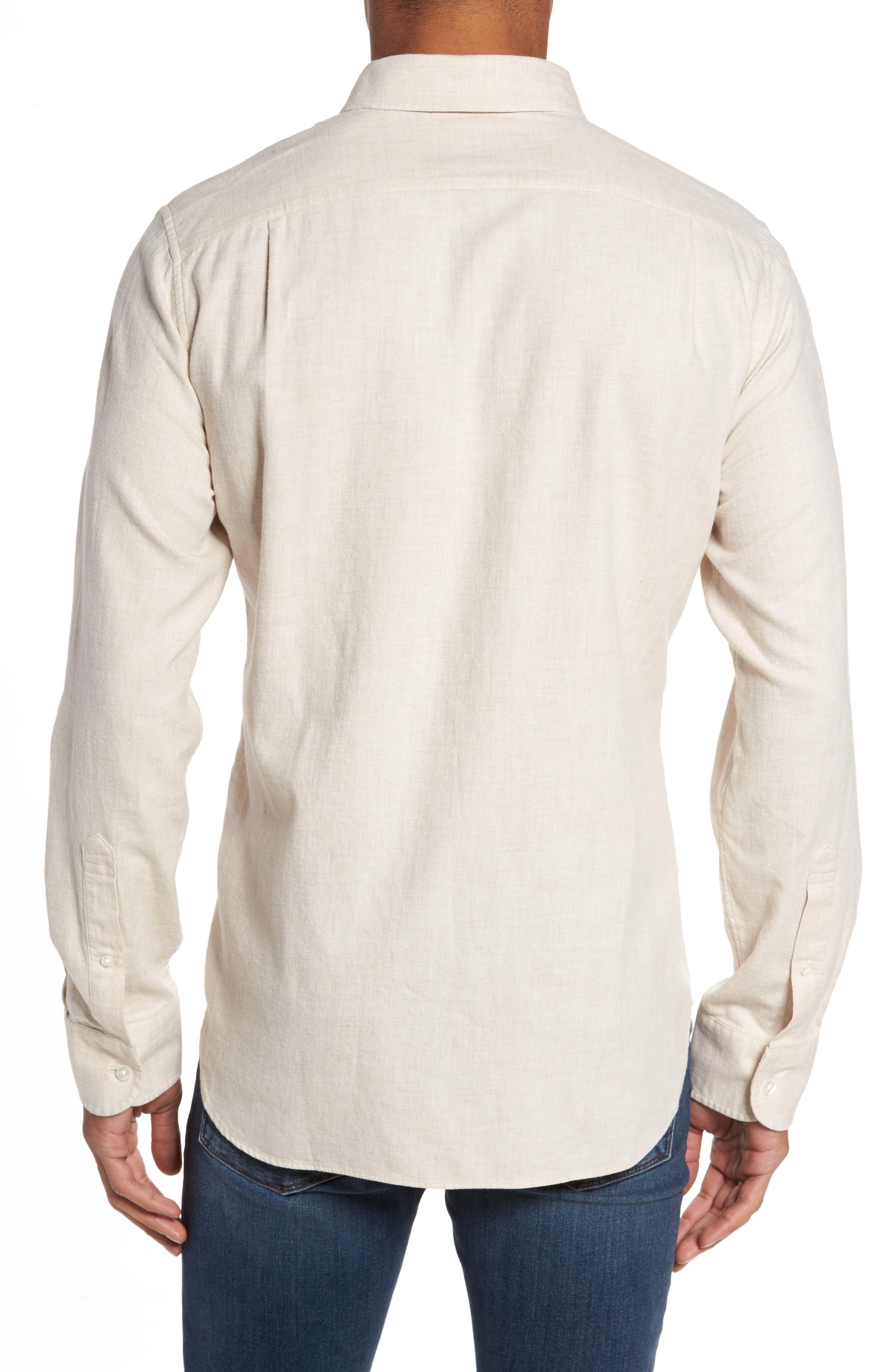 Slim Fit Brushed Twill Sport Shirt,                             Alternate thumbnail 2, color,