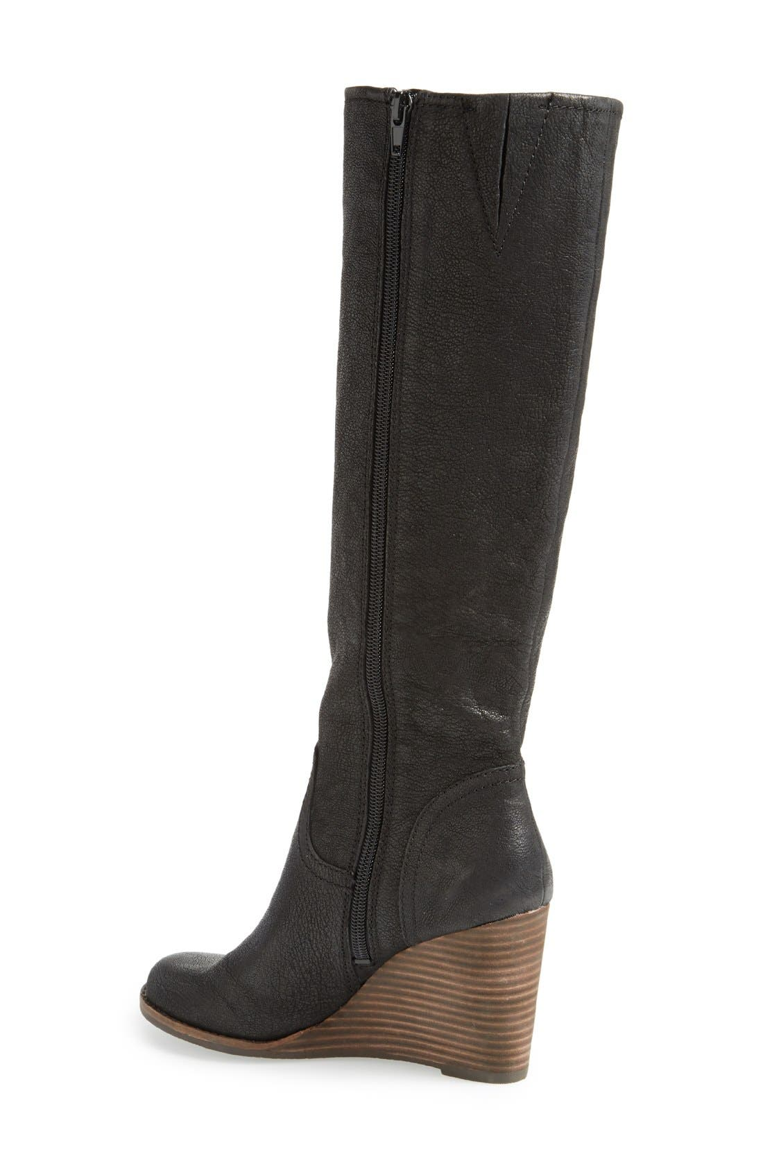 'Yacie' Leather Wedge Boot,                             Alternate thumbnail 4, color,                             002