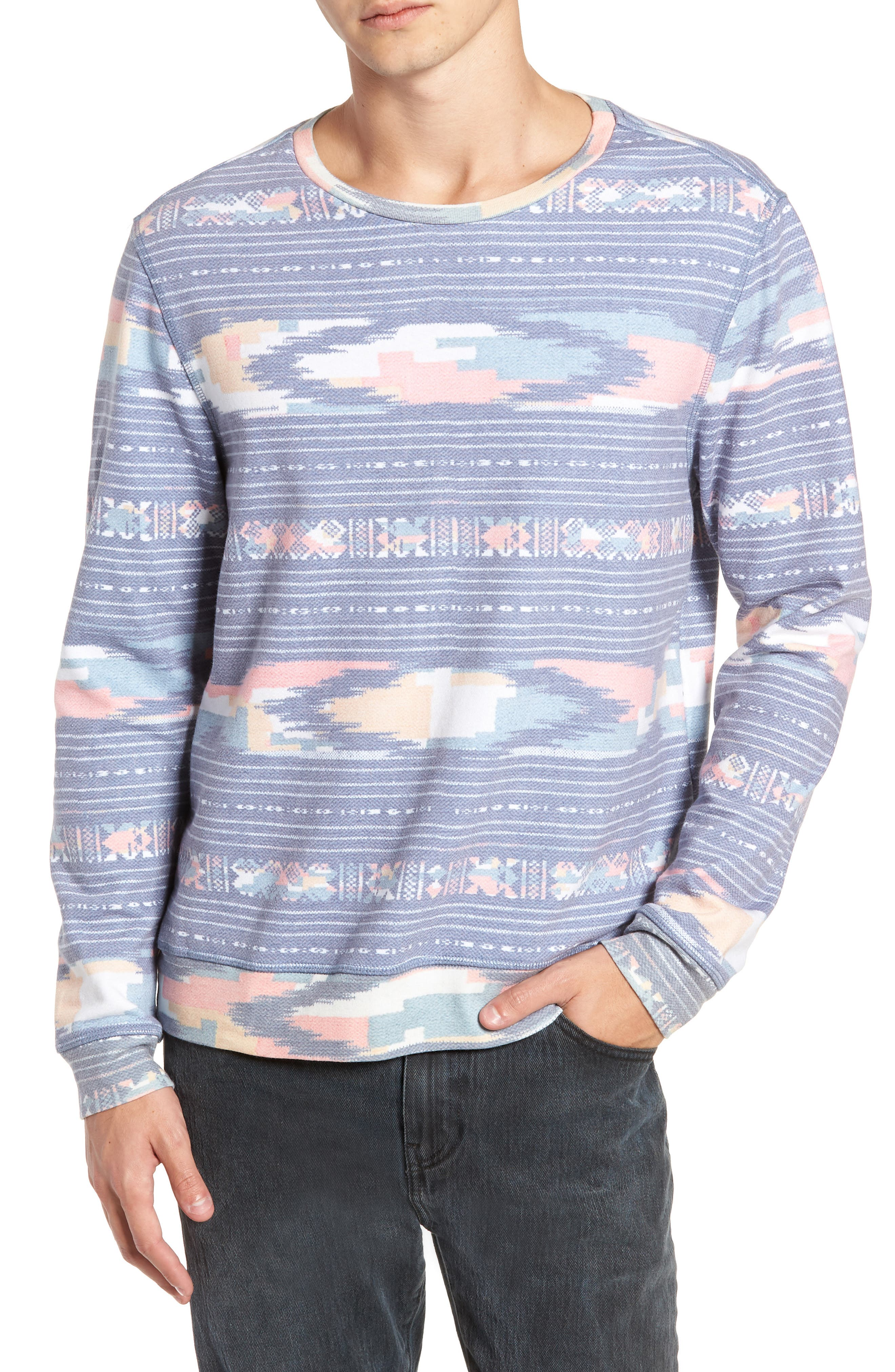 Sunset Ikat Crewneck Pullover,                             Main thumbnail 1, color,                             400