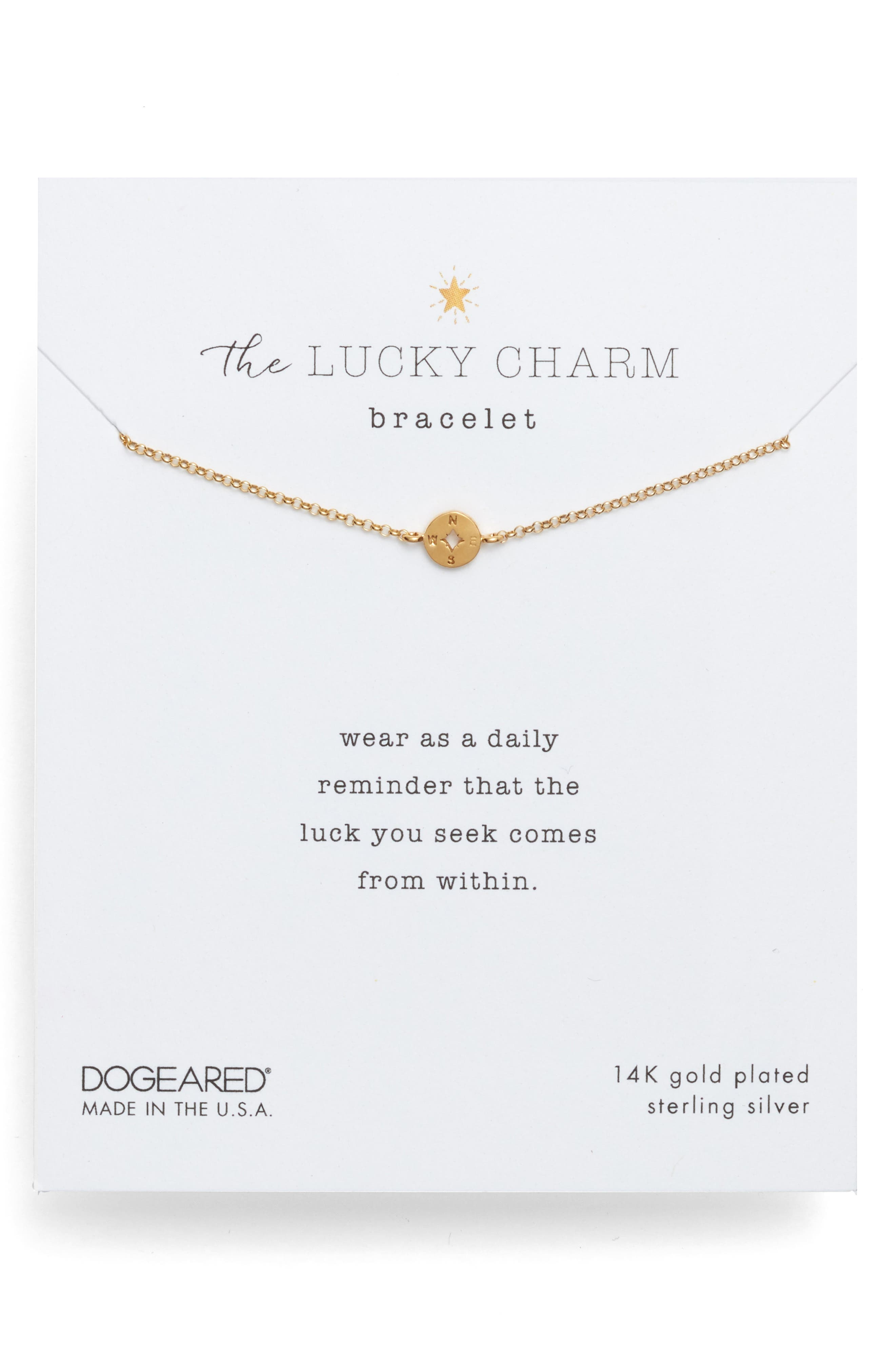 DOGEARED The Lucky Charm Compass Bracelet in Gold Dipped