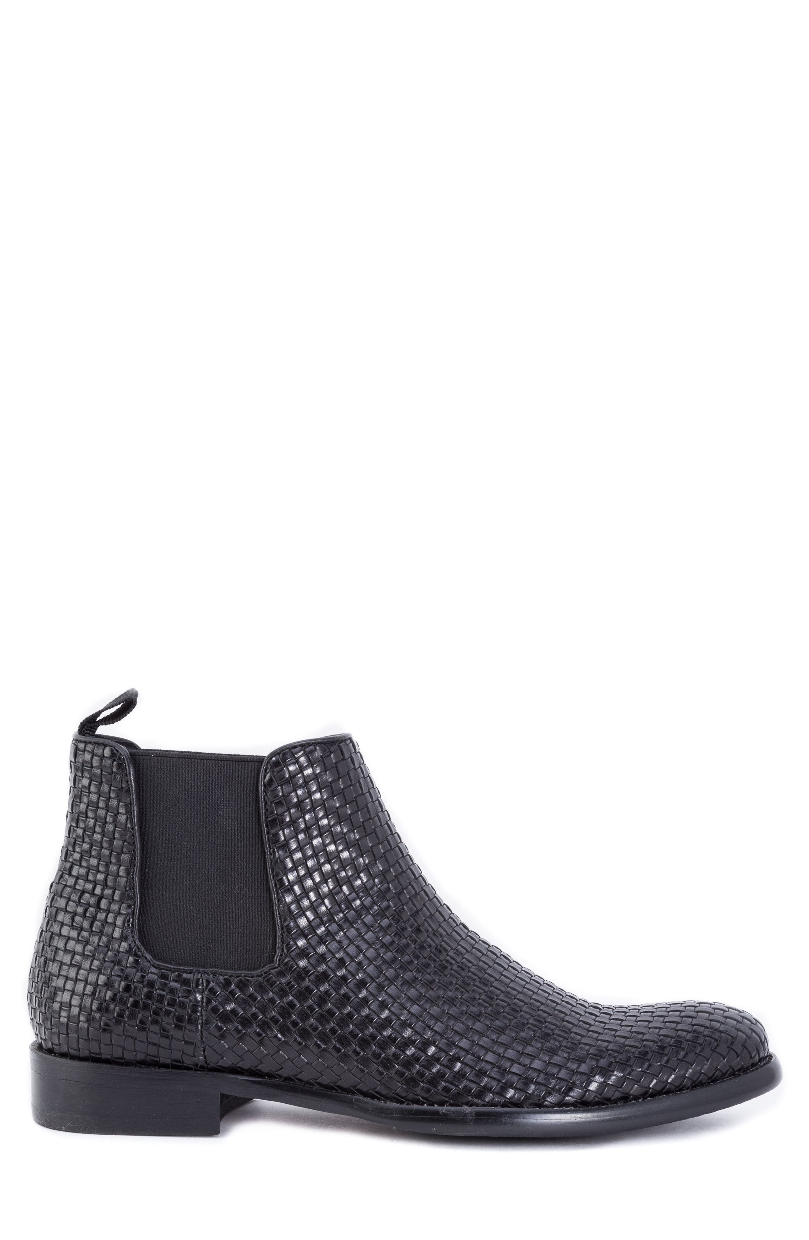 Woodward Woven Chelsea Boot,                             Alternate thumbnail 3, color,                             BLACK LEATHER