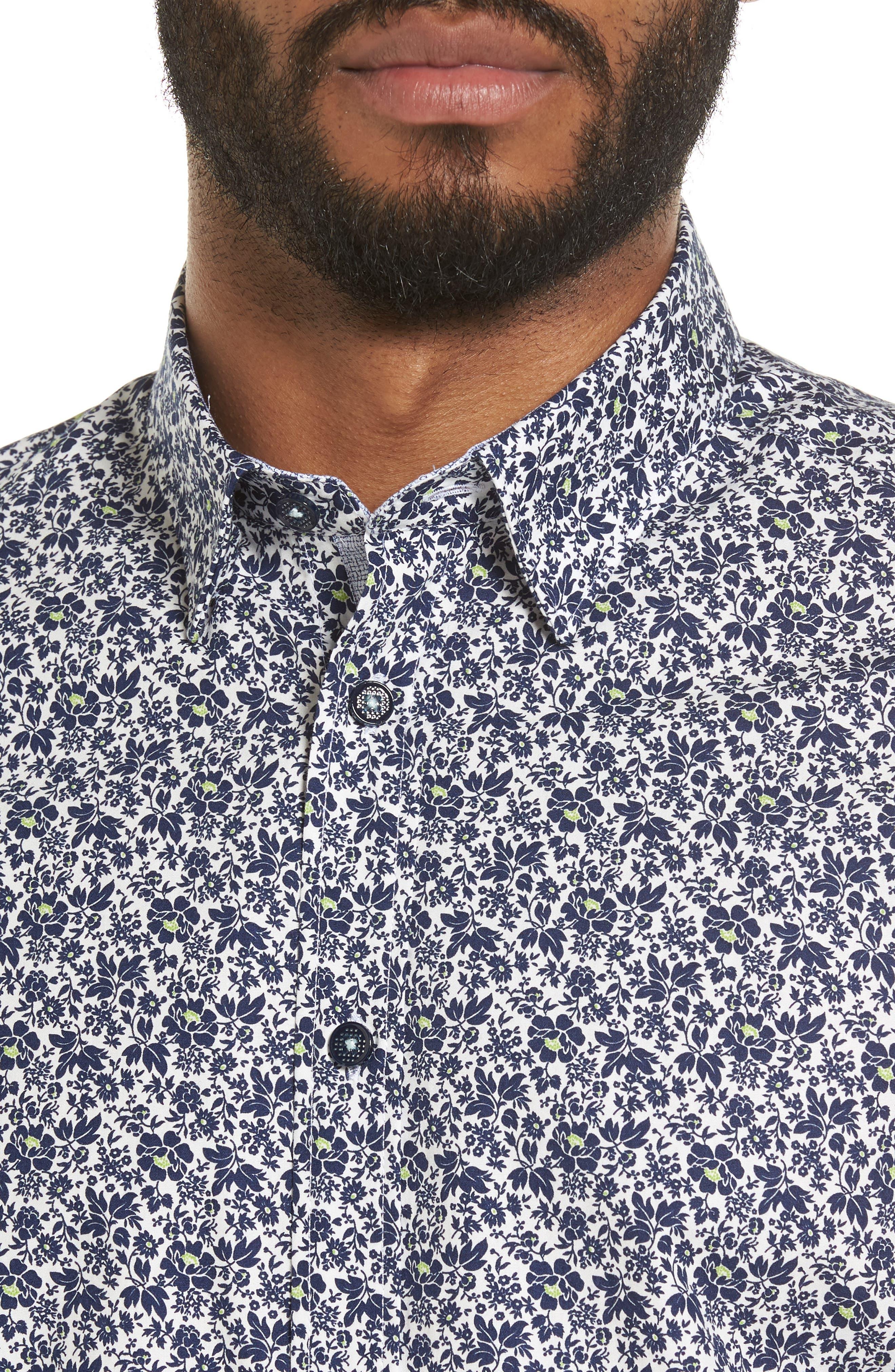 Alygar Slim Fit Floral Woven Shirt,                             Alternate thumbnail 4, color,                             402