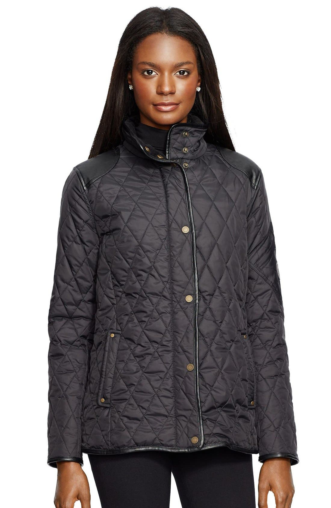 Faux Leather Trim Quilted Jacket,                             Main thumbnail 1, color,                             001