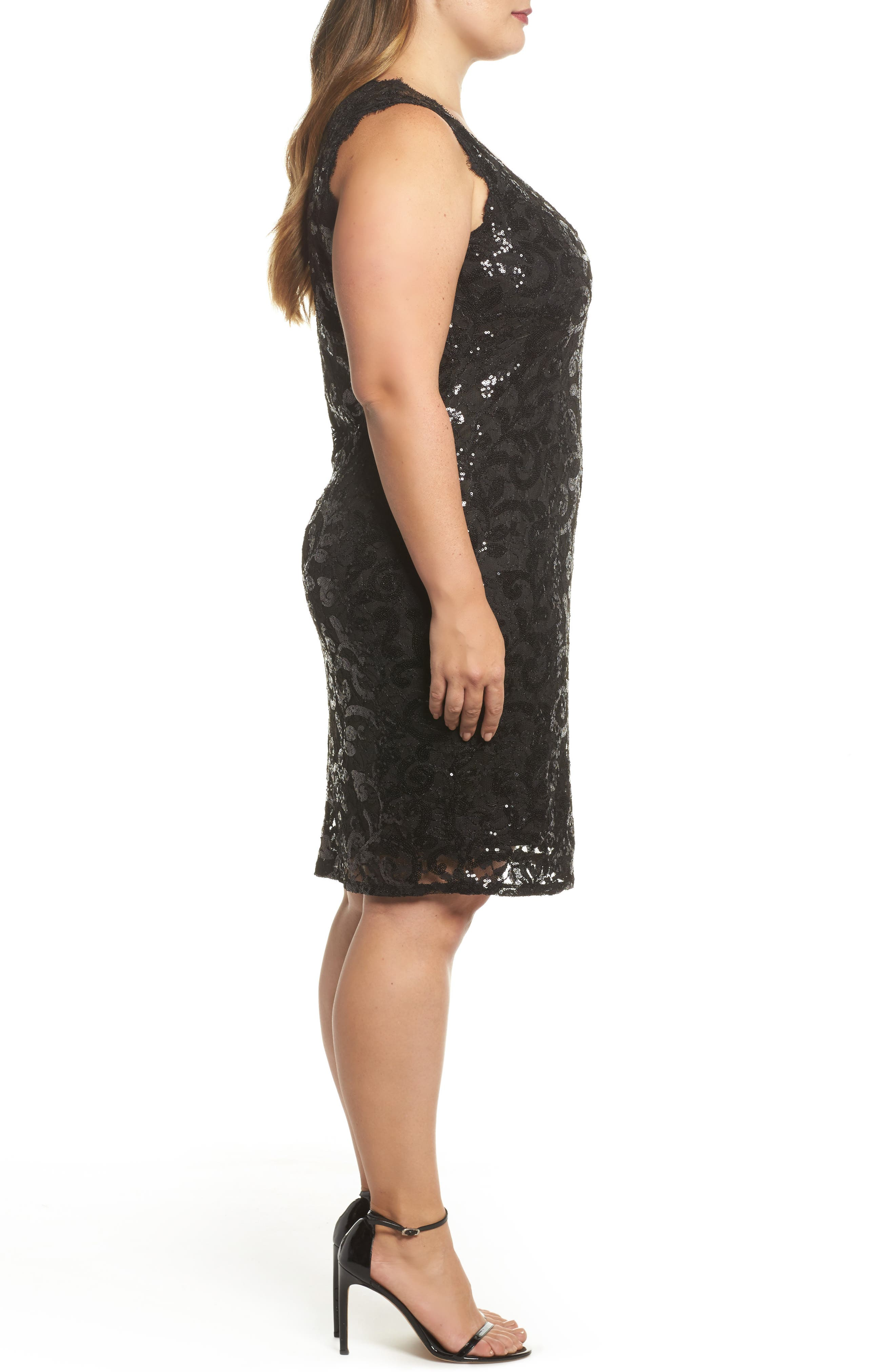 Sequin Lace Party Dress,                             Alternate thumbnail 3, color,                             001