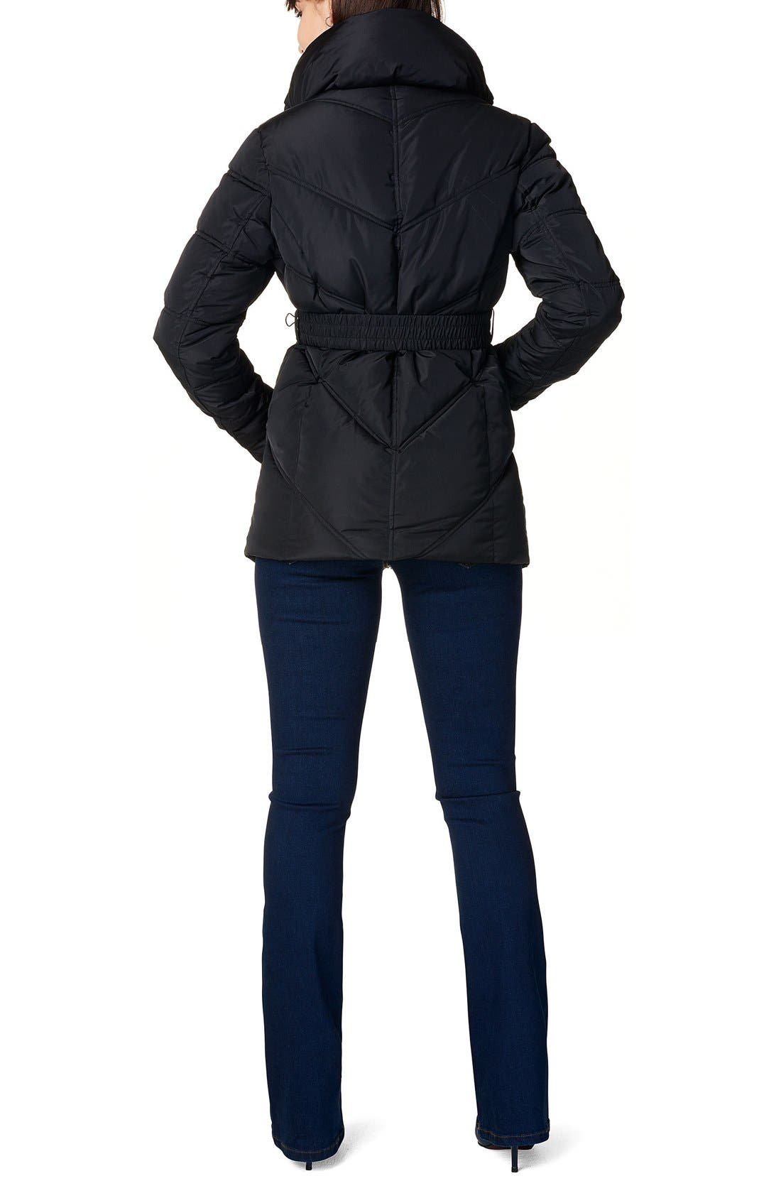 'Lene' Quilted Maternity Jacket,                             Alternate thumbnail 2, color,                             BLACK