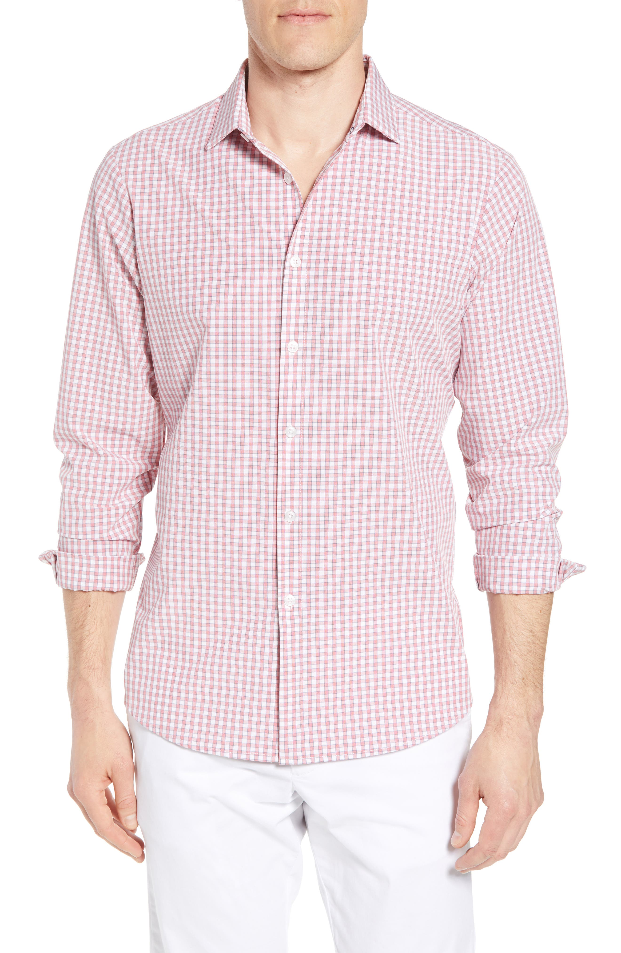 Stark Slim Fit Gingham Performance Sport Shirt,                         Main,                         color, RED