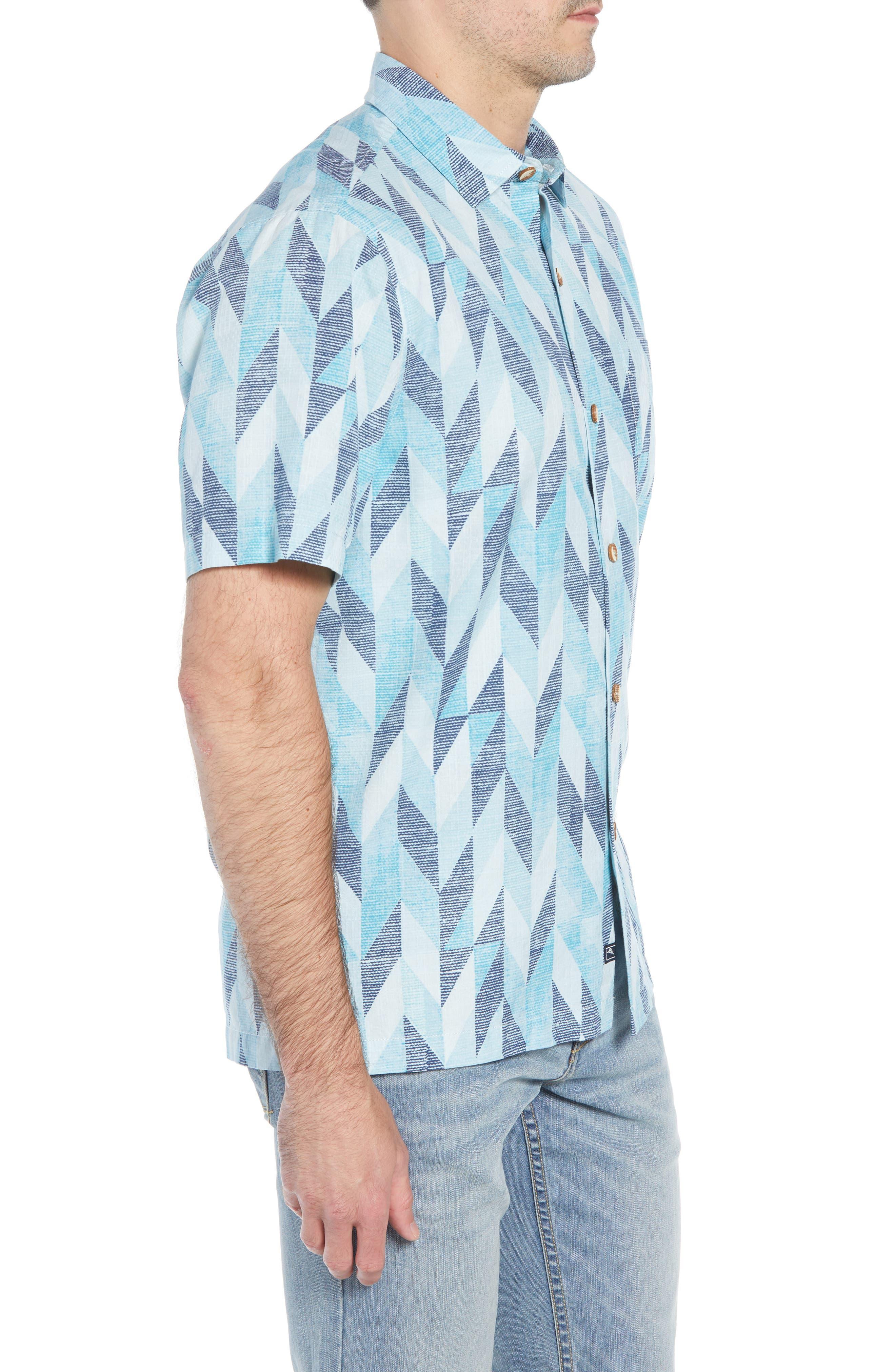 Geo Celeste Sport Shirt,                             Alternate thumbnail 4, color,                             RIVIERA AZURE