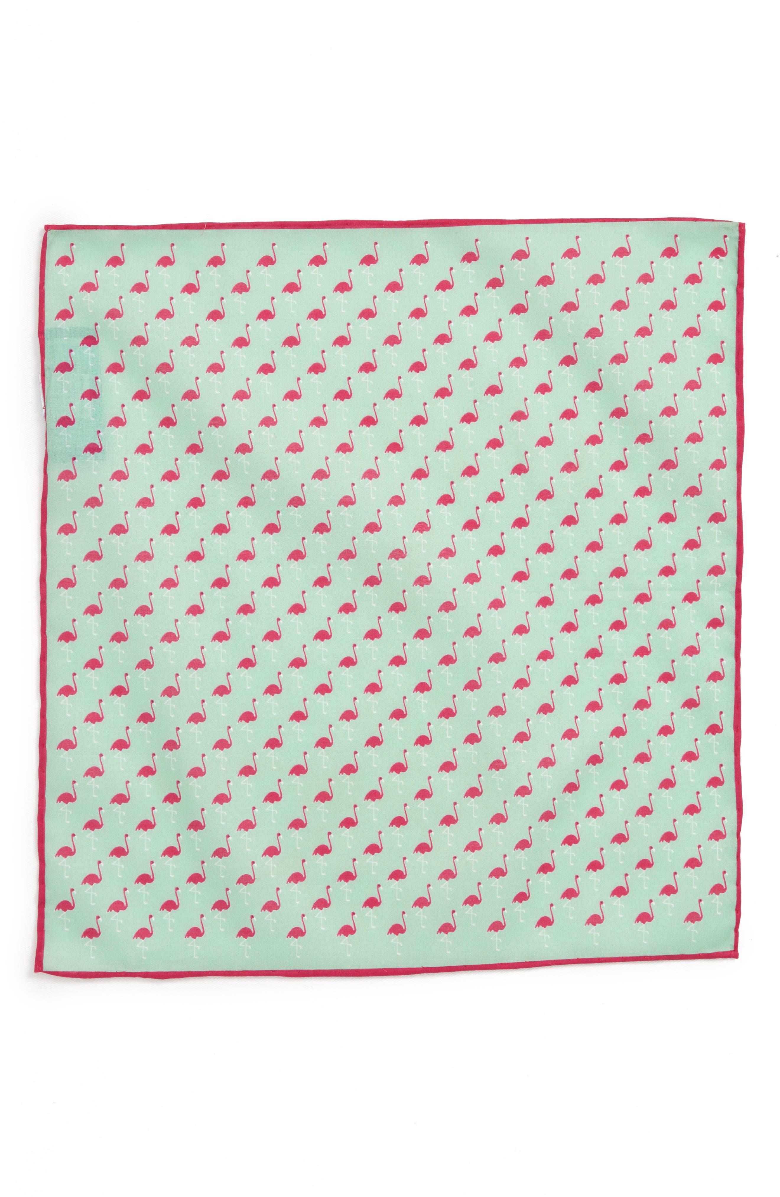 Fenwick Flamingo Cotton & Silk Pocket Square,                             Alternate thumbnail 2, color,                             MINT