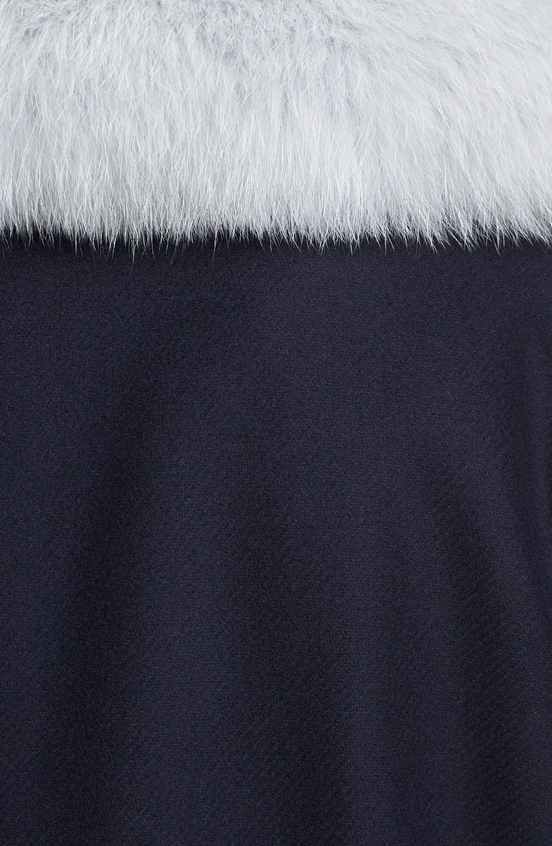 Wool Coat with Genuine Fox Fur Trim,                             Alternate thumbnail 5, color,                             410