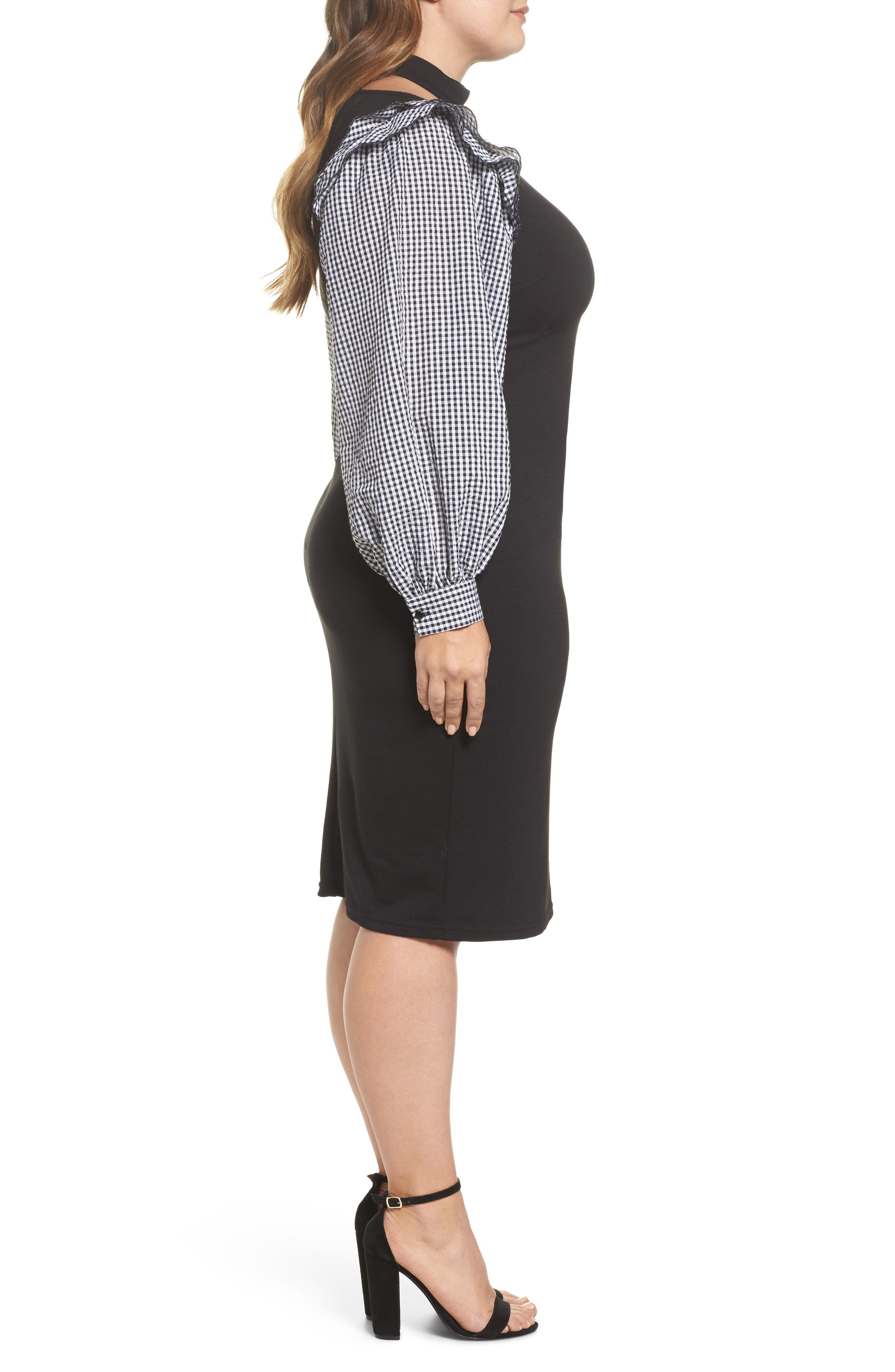 Gingham Sleeve Body-Con Dress,                             Alternate thumbnail 3, color,                             001