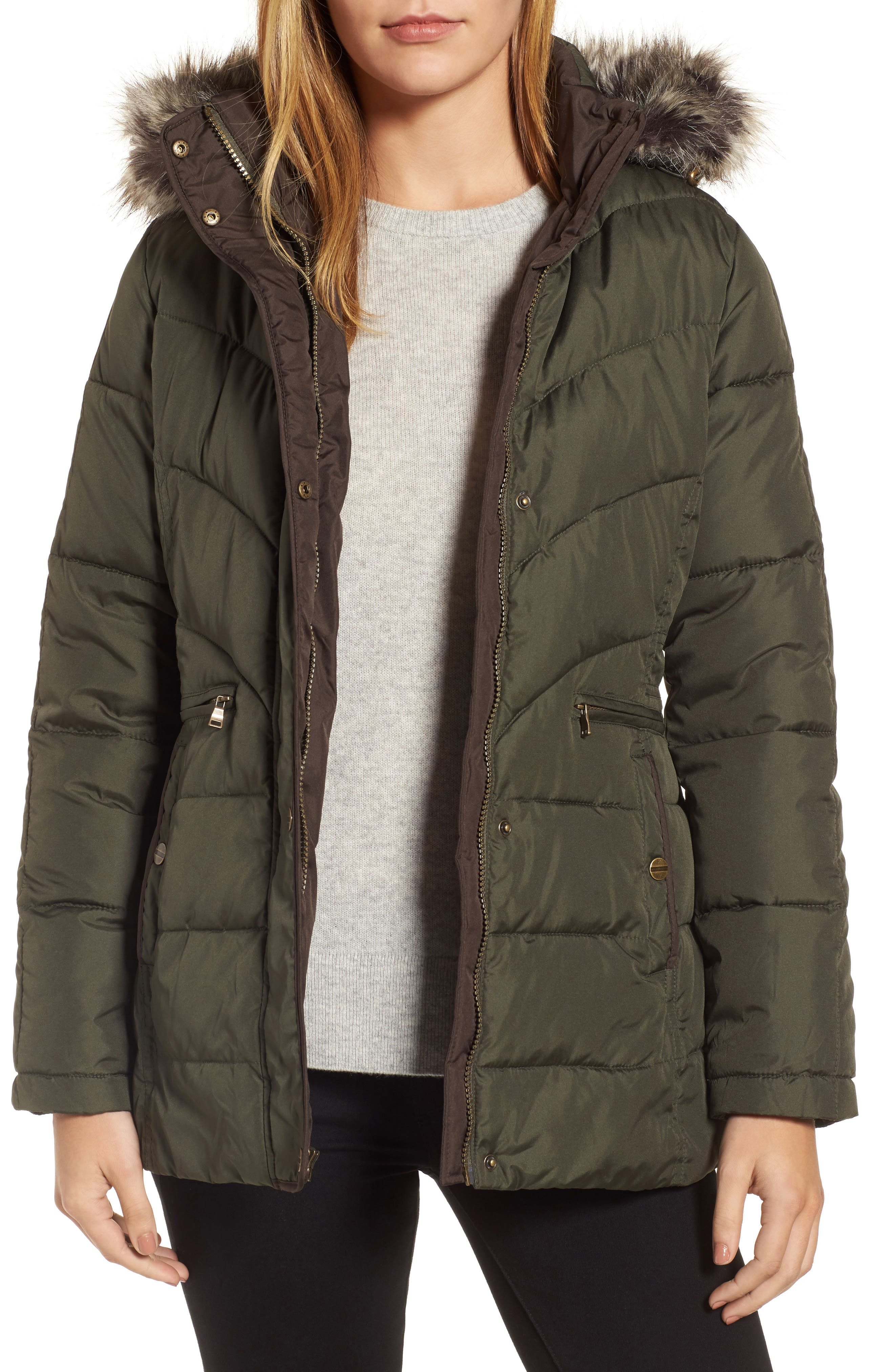 Quilted Coat with Faux Fur Trim,                         Main,                         color, 312