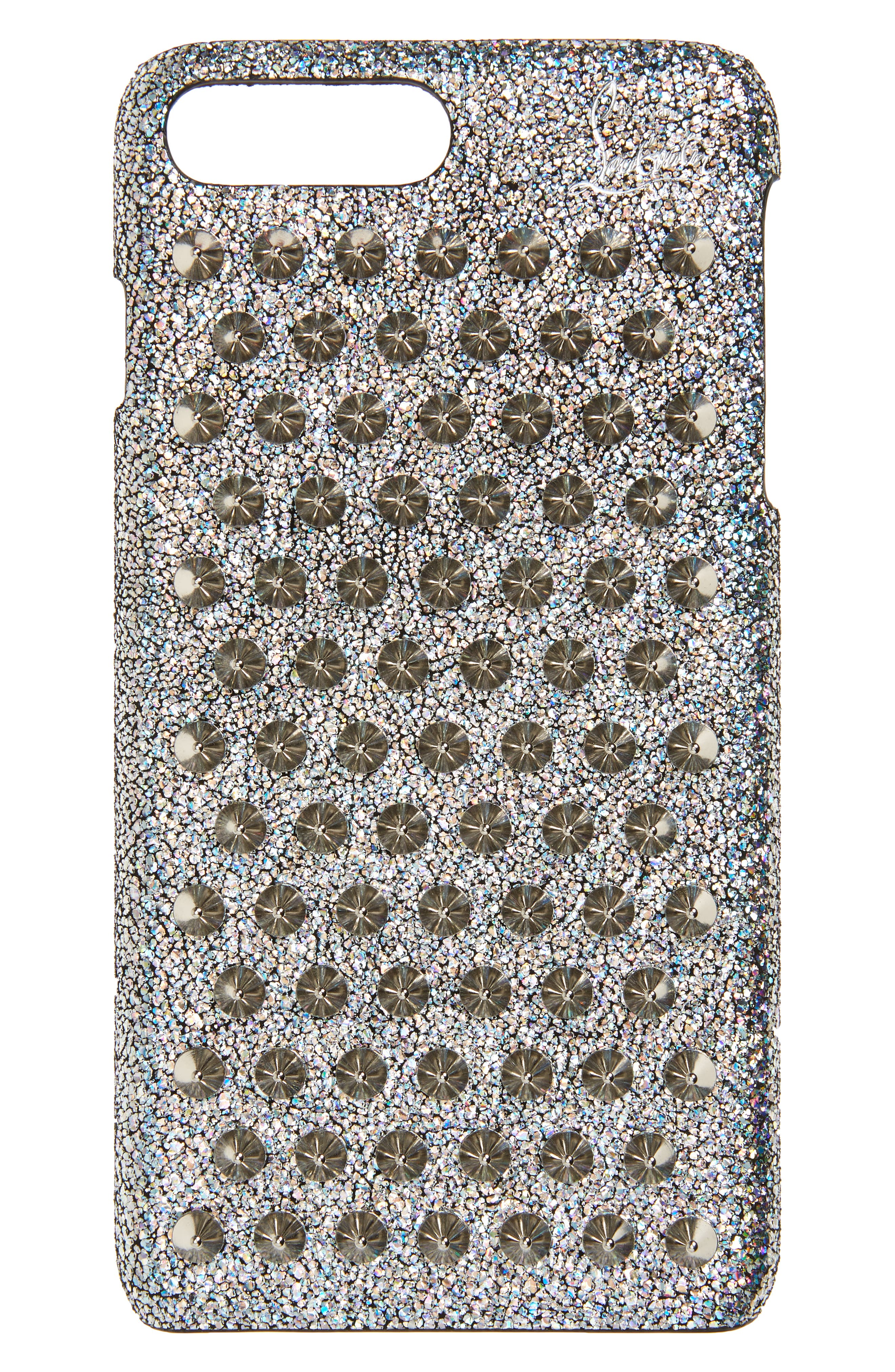 CHRISTIAN LOUBOUTIN Loubiphone iPhone 7/8 Case, Main, color, SILVER AB/ SILVER