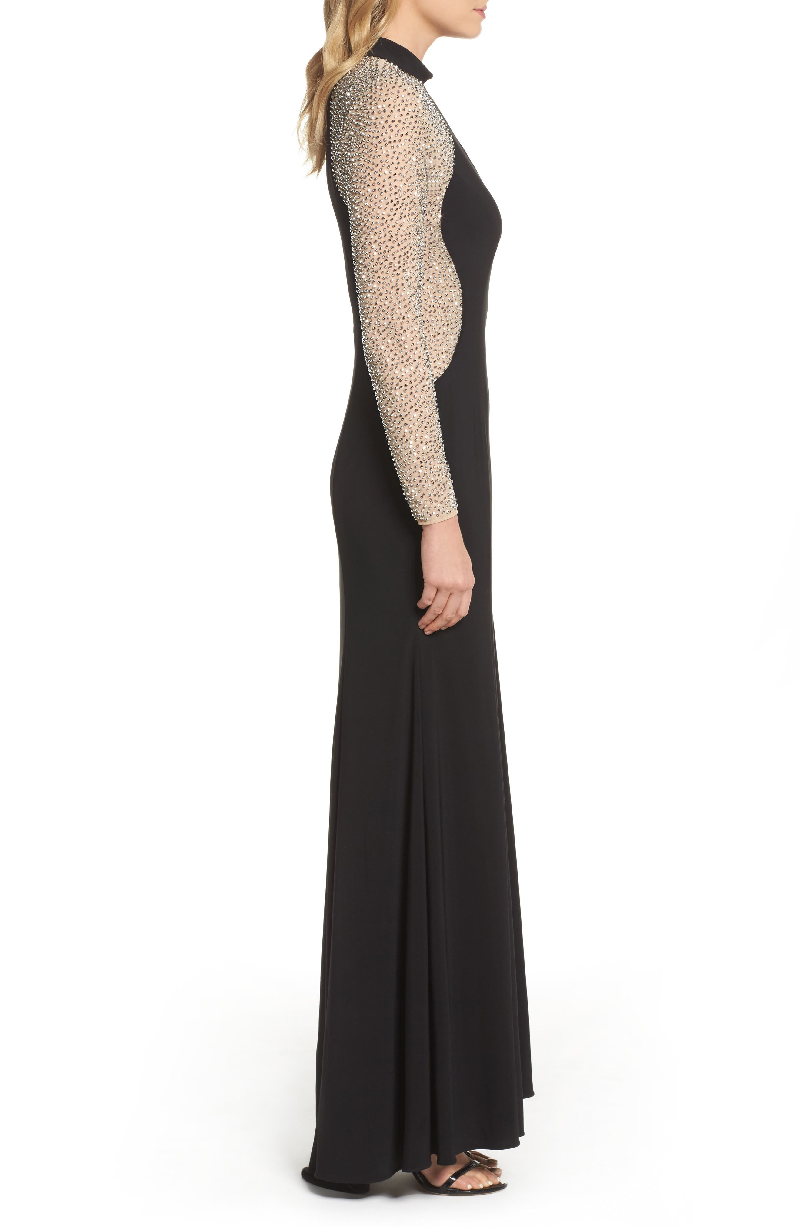 Beaded Choker Neck Gown,                             Alternate thumbnail 3, color,                             BLACK/ NUDE/ SILVER