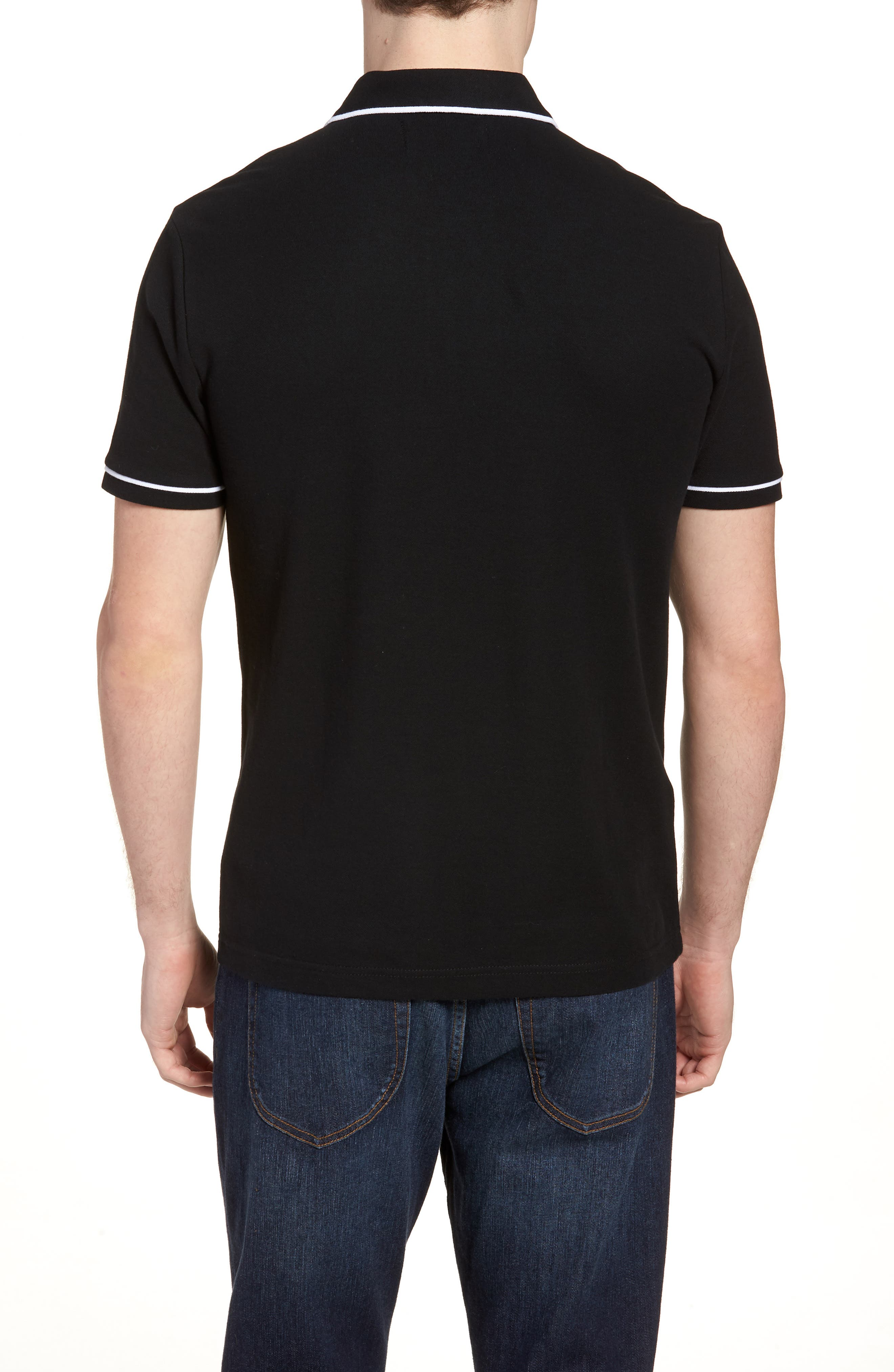 'Earl' Piqué Polo,                             Alternate thumbnail 2, color,                             TRUE BLACK