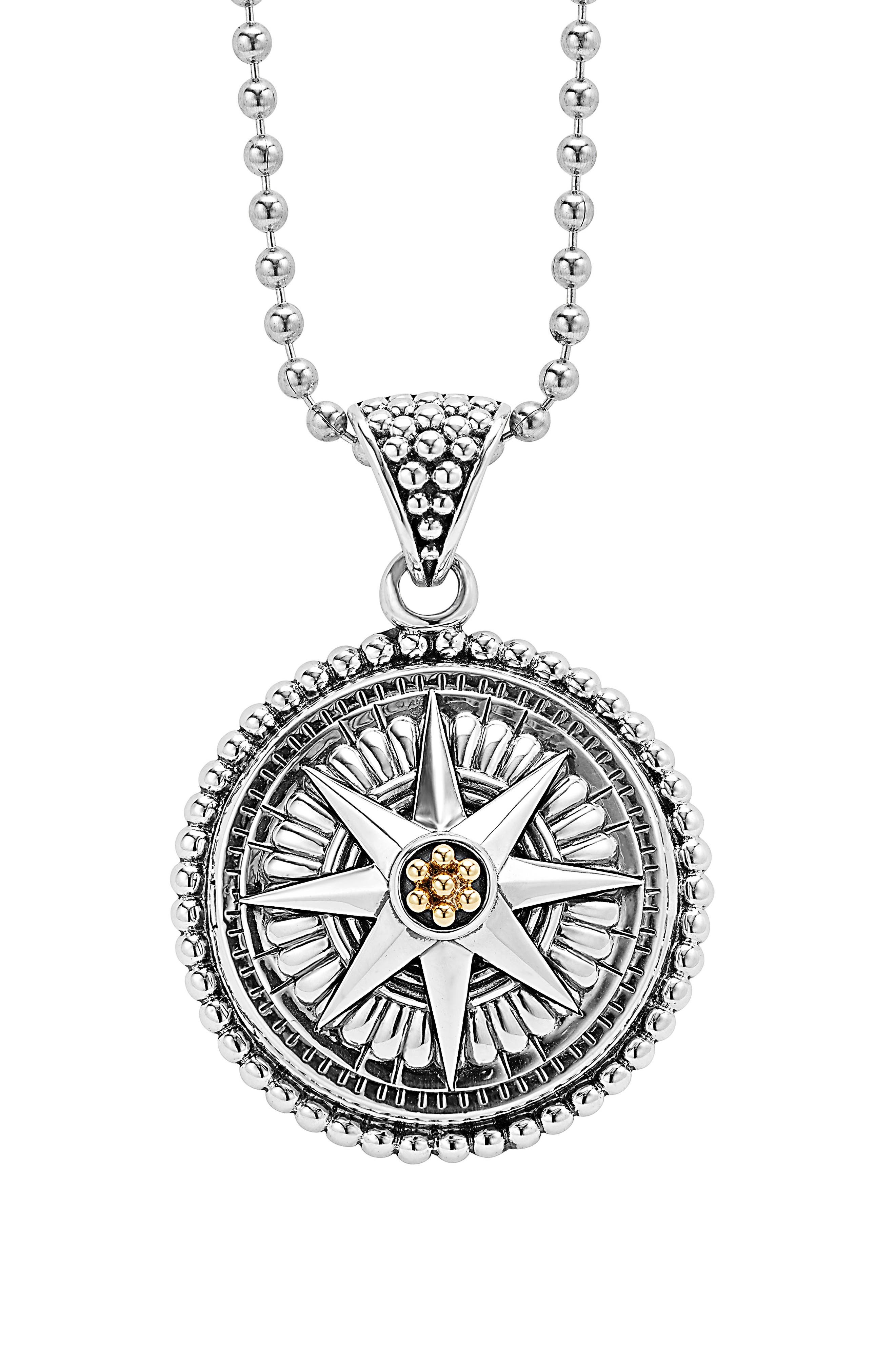 Signature Caviar Compass Pendant Necklace,                         Main,                         color, SILVER