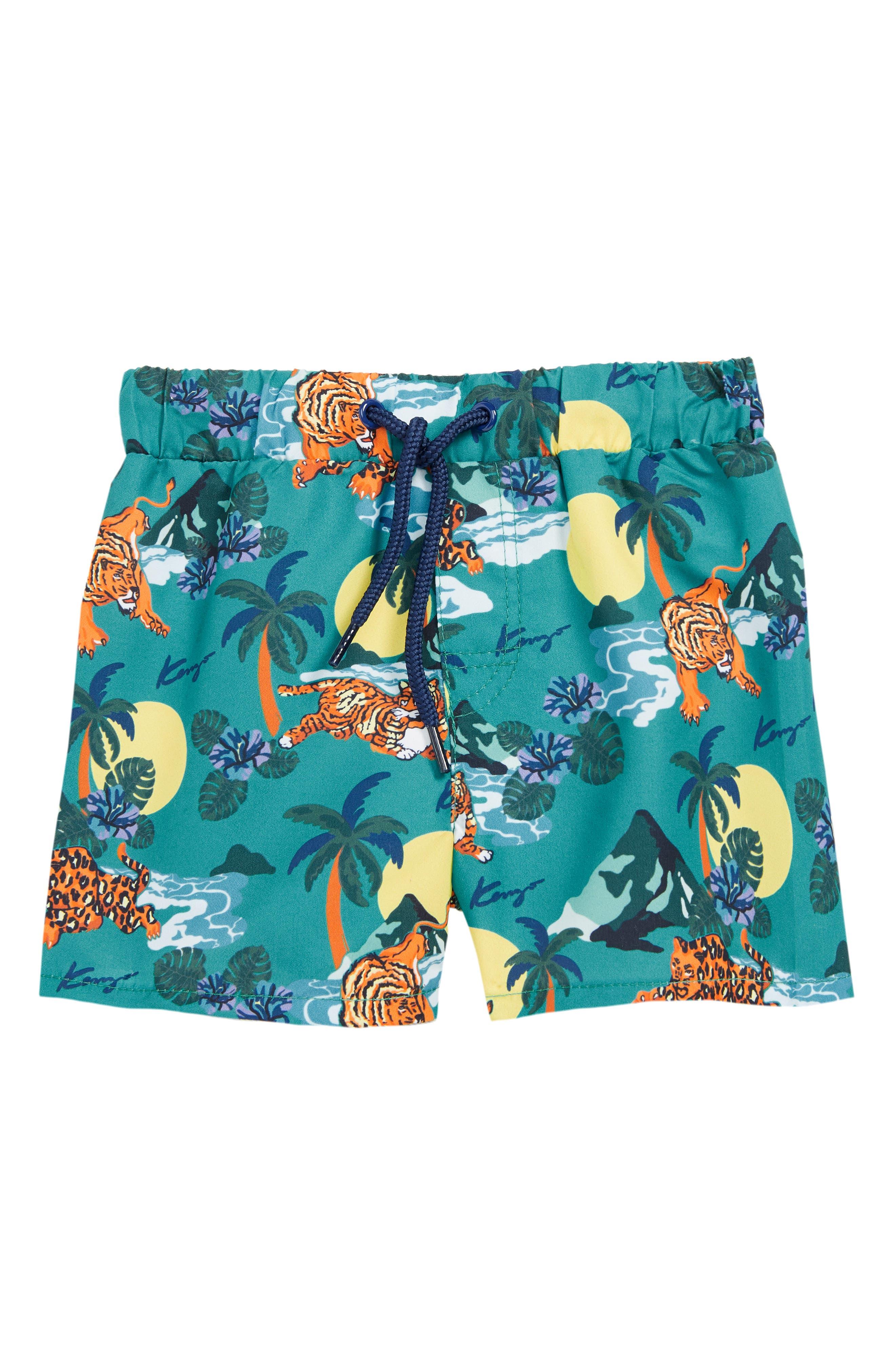 KENZO Print Bermuda Swim Shorts, Main, color, MENTHOL