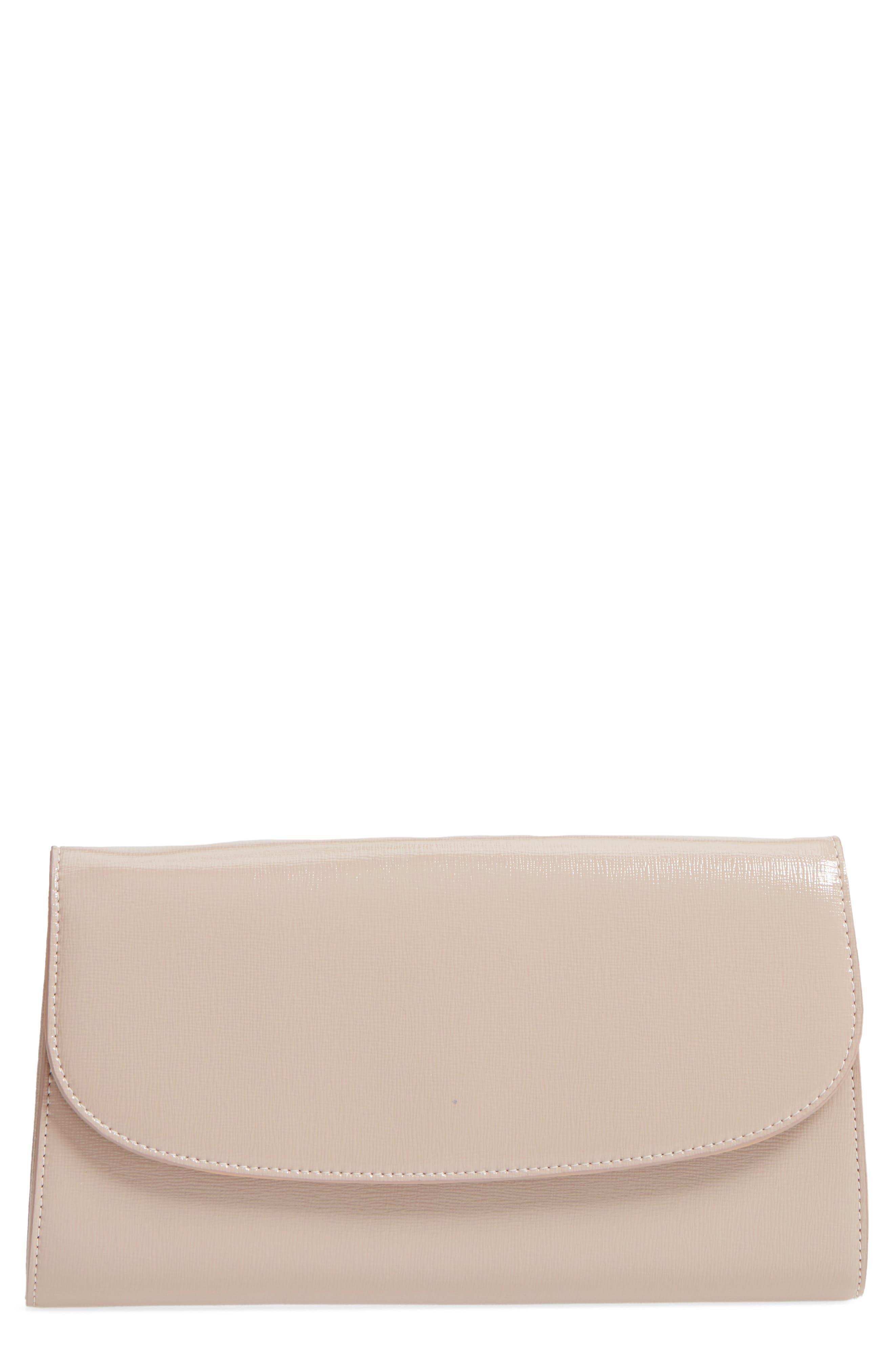 Leather Clutch,                         Main,                         color, GREY BARK