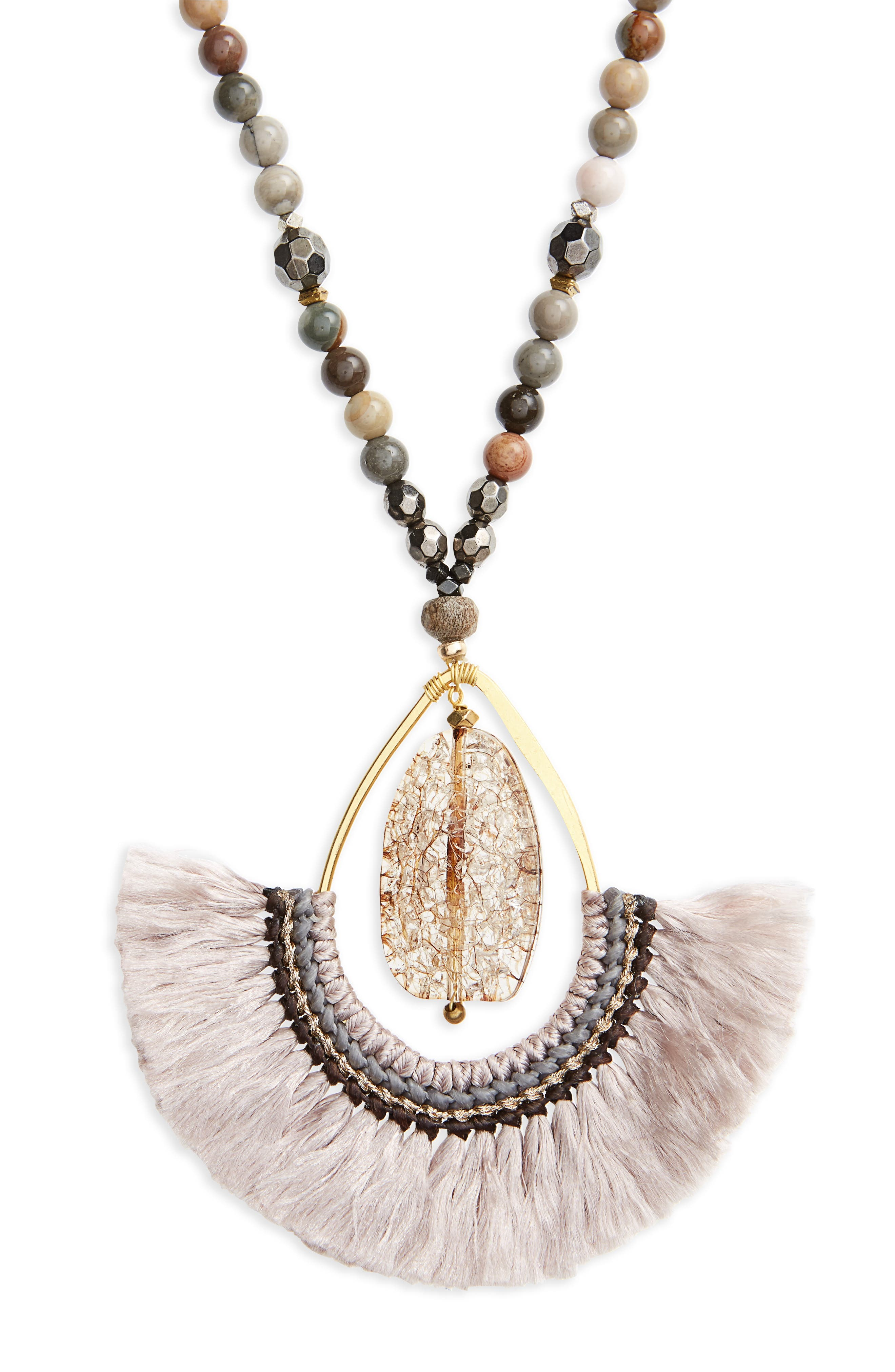 Fringed Agate Teardrop Pendant Necklace,                             Alternate thumbnail 2, color,                             250