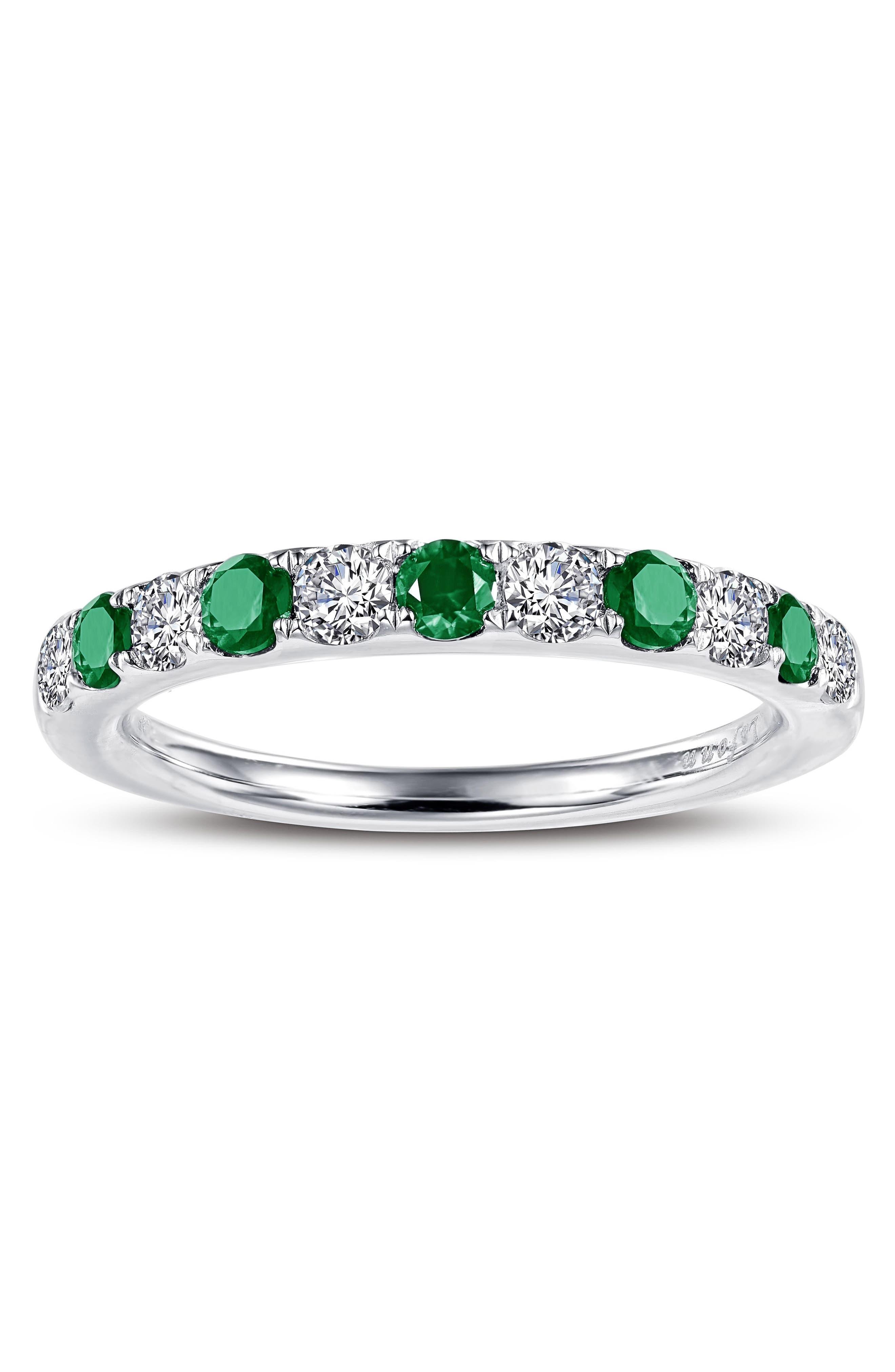 Simulated Diamond Birthstone Band Ring,                             Alternate thumbnail 2, color,                             MAY - GREEN/ SILVER