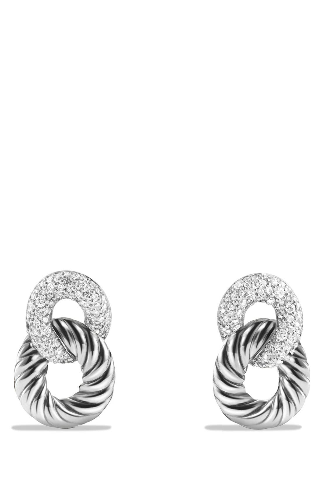 'Belmont Curb Link' Drop Earrings with Diamonds,                             Main thumbnail 1, color,                             DIAMOND