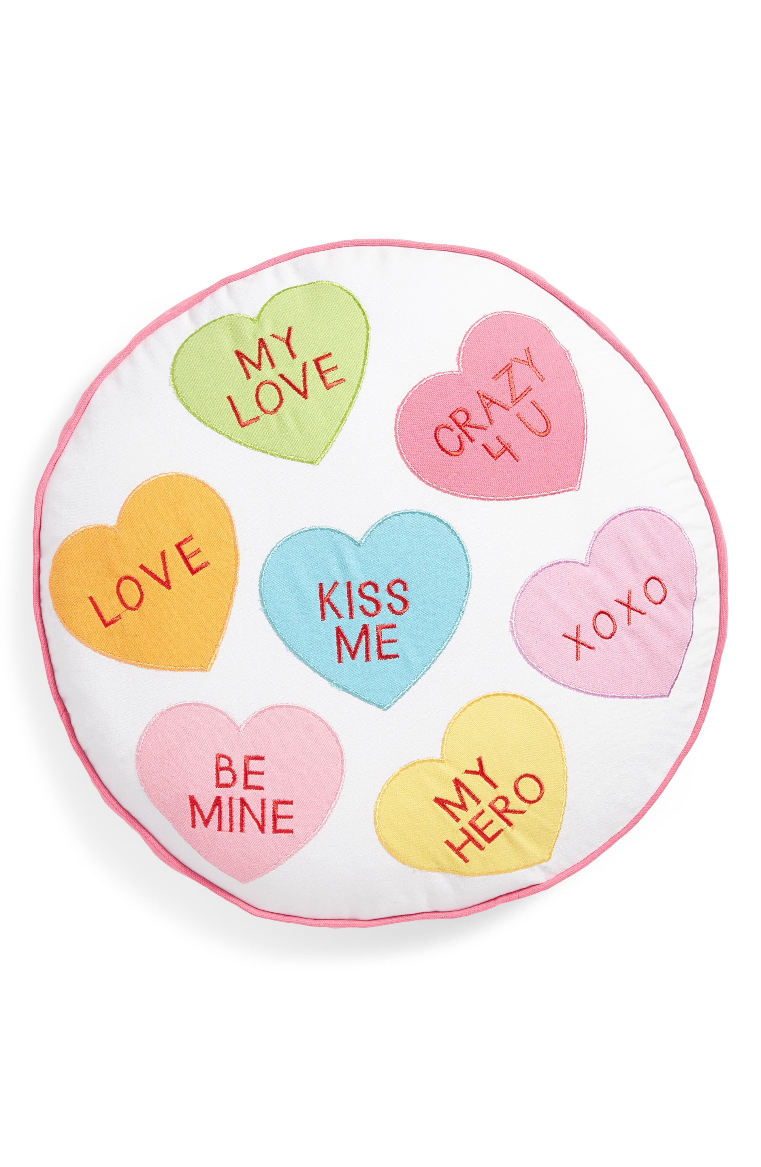 Candy Hearts Accent Pillow,                             Main thumbnail 1, color,                             100