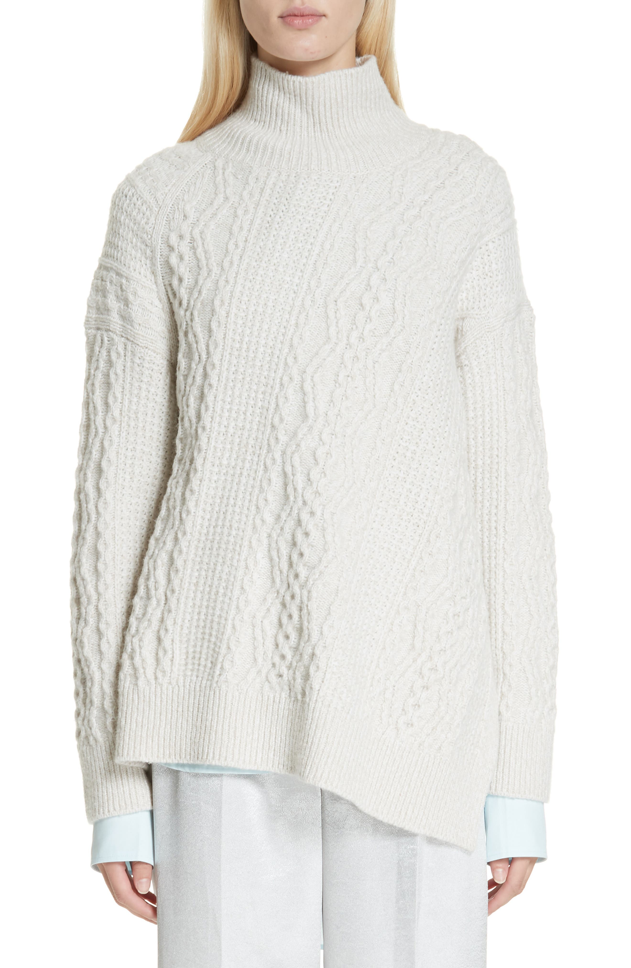 Diagonal Cable Wool Blend Turtleneck Sweater, Main, color, OFF WHITE/ MARZIPAN