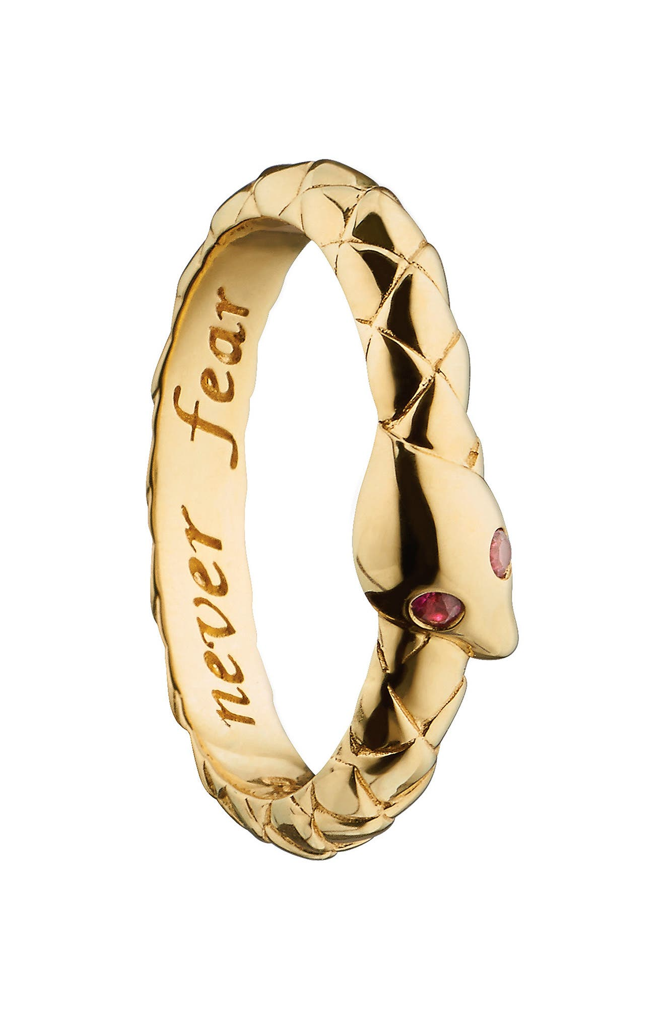 Never Fear Poesy Ring Charm,                             Main thumbnail 1, color,                             18K YELLOW GOLD