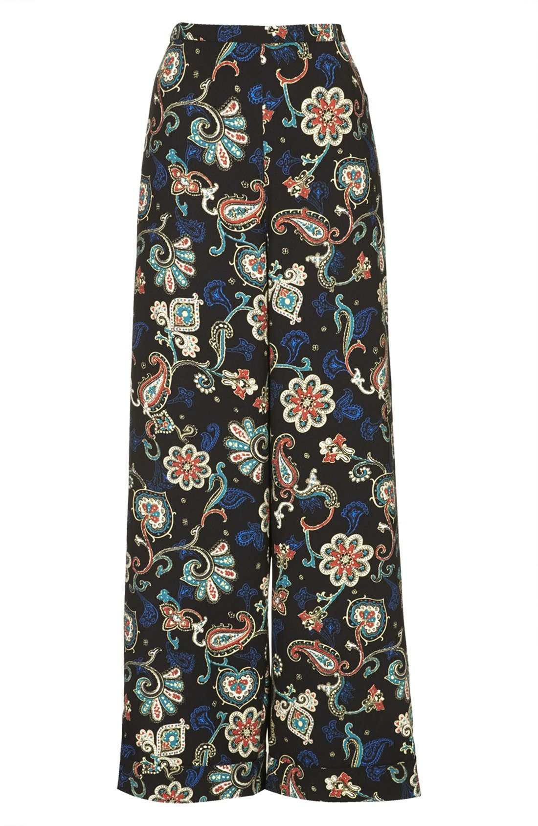 Kate Moss for Topshop Paisley Wide Leg Pants,                             Alternate thumbnail 5, color,                             001
