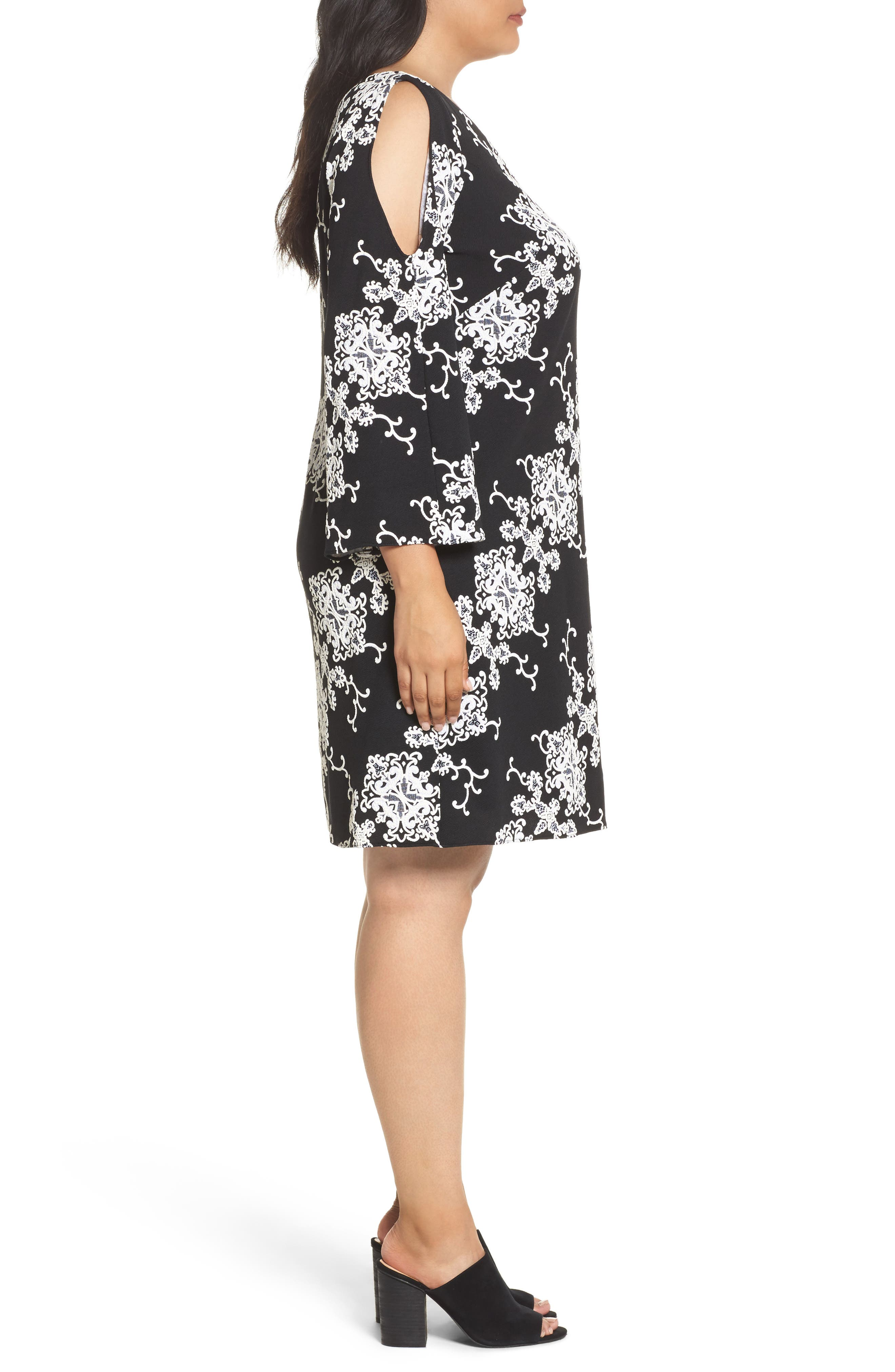 Split Sleeve Shift Dress,                             Alternate thumbnail 3, color,