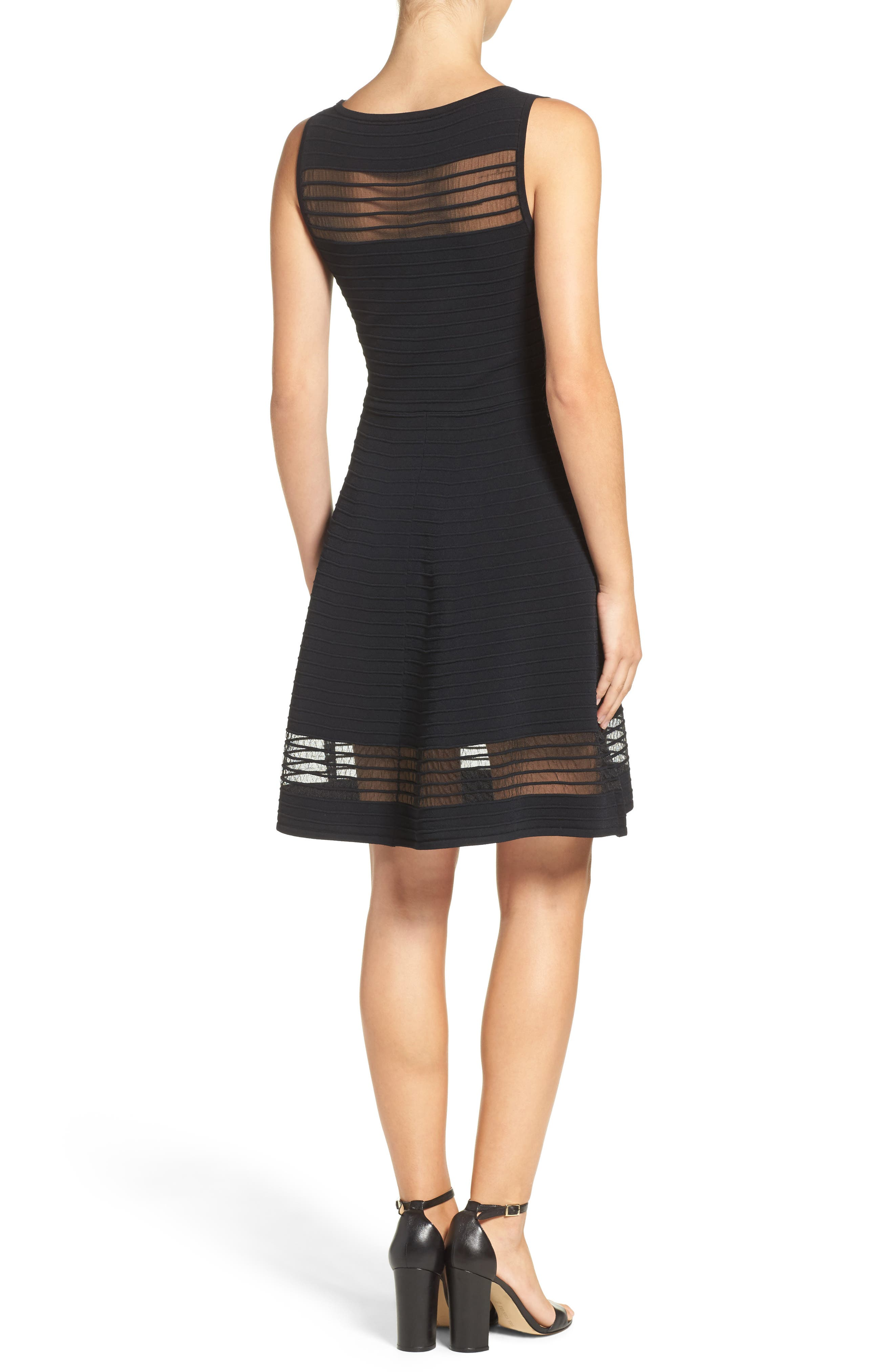 Tobey Fit & Flare Sweater Dress,                             Alternate thumbnail 2, color,                             BLACK