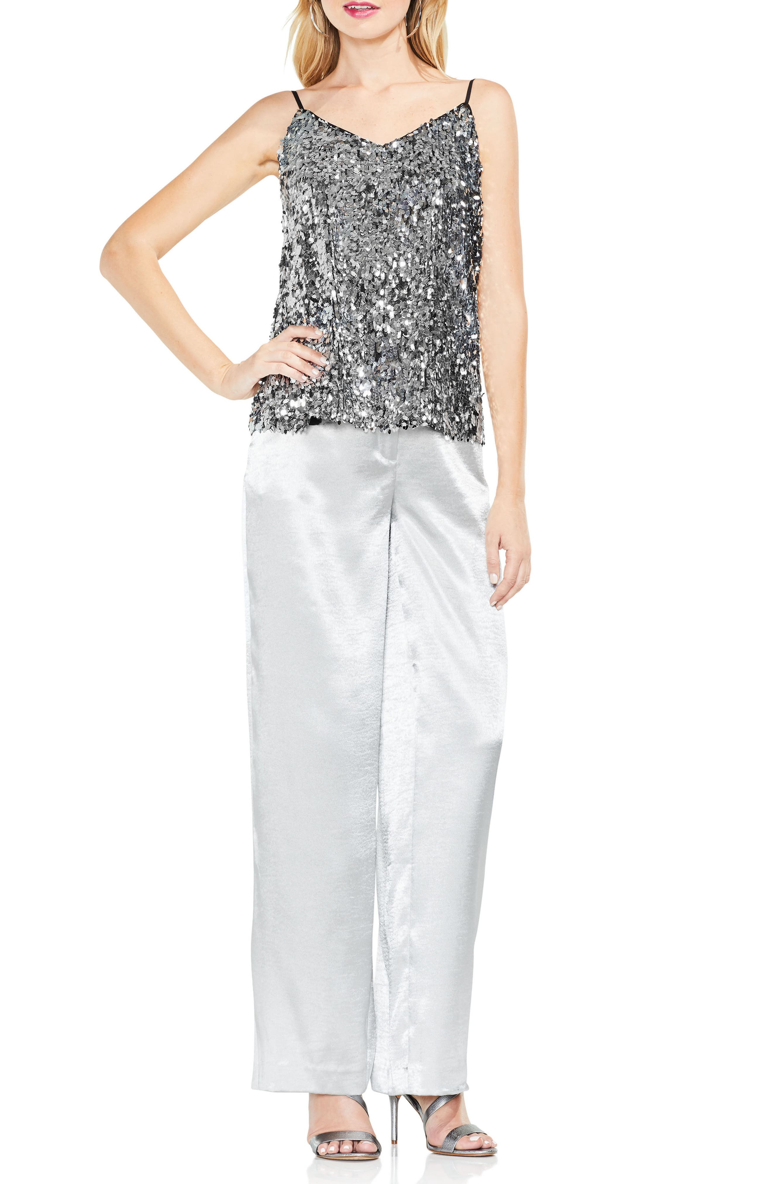 Allover Sequin Camisole Top,                             Alternate thumbnail 3, color,