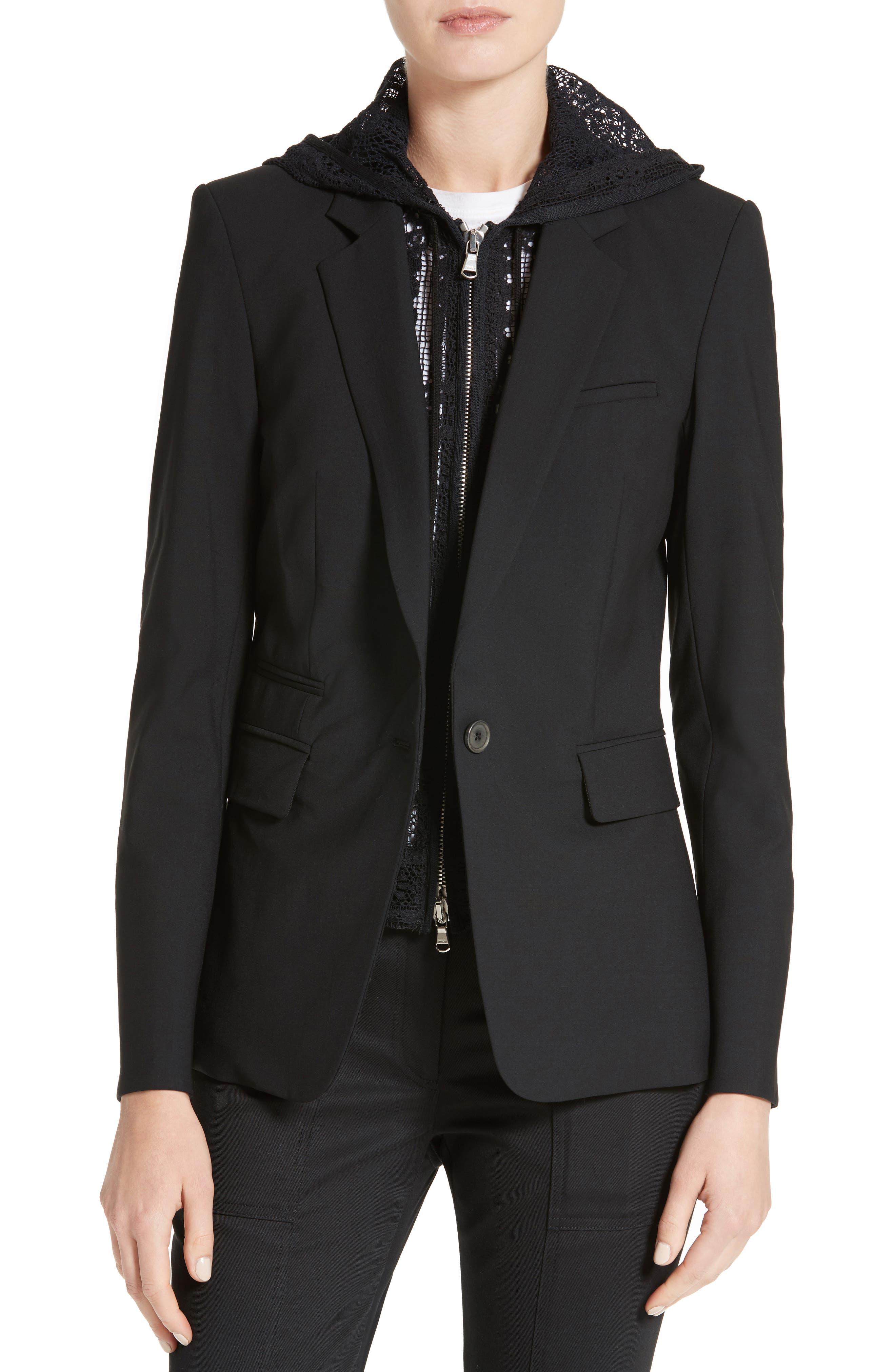 'Classic' Lambswool Blend Single Button Blazer,                             Main thumbnail 1, color,                             BLACK