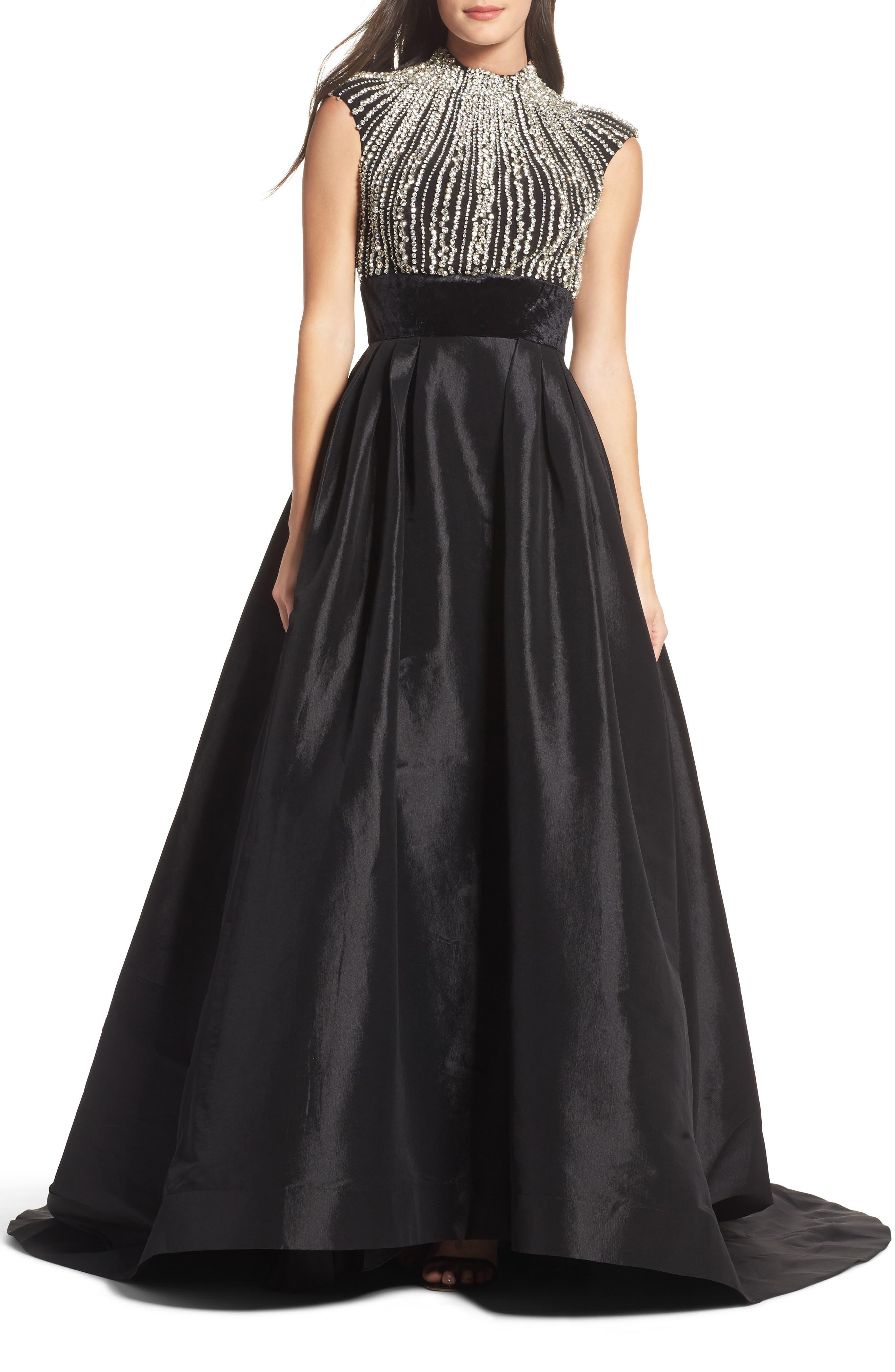 Crystal & Satin Ballgown,                         Main,                         color, BLACK