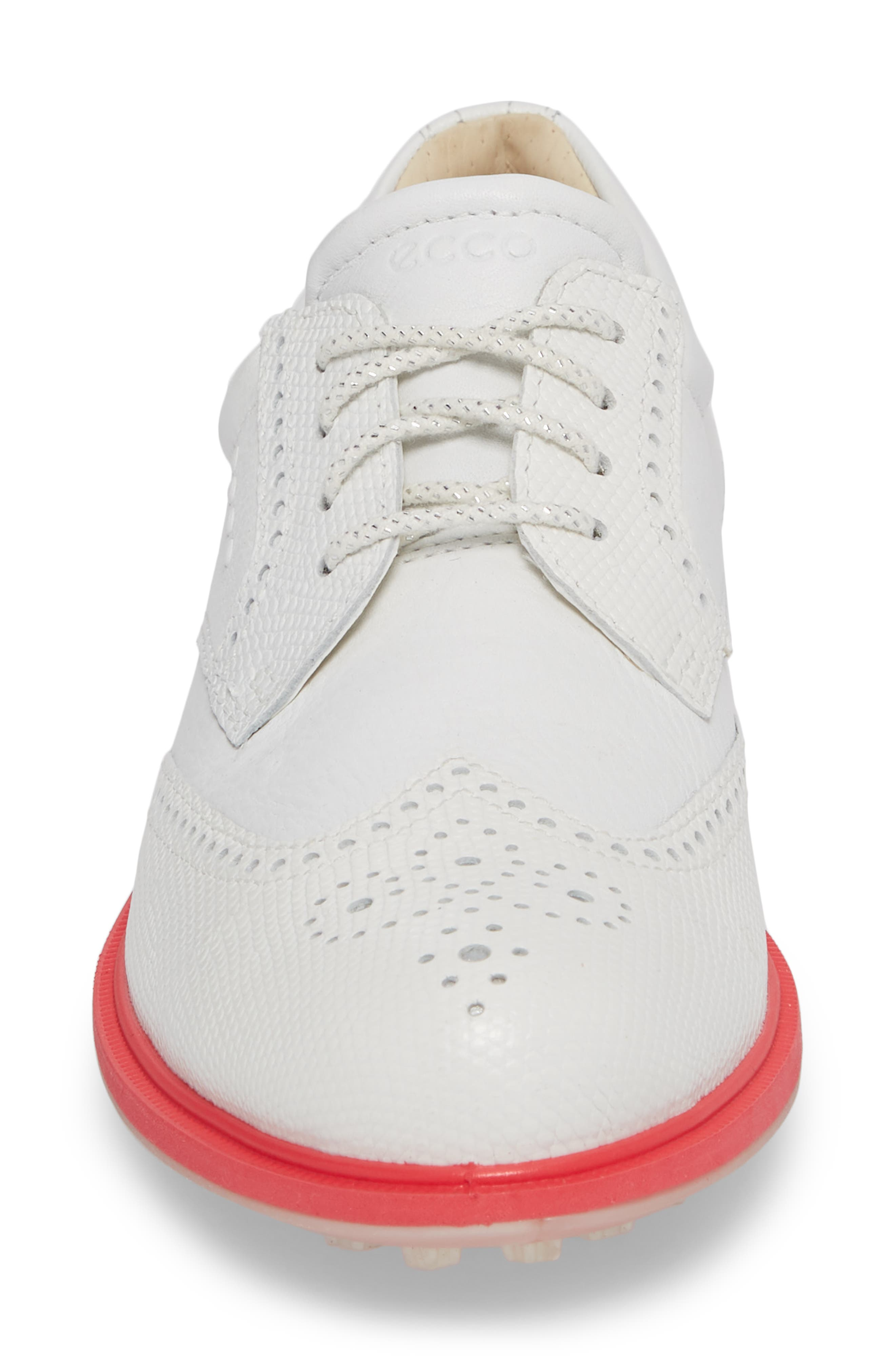 'Tour' Hybrid Wingtip Golf Shoe,                             Alternate thumbnail 4, color,                             WHITE LEATHER/ RED