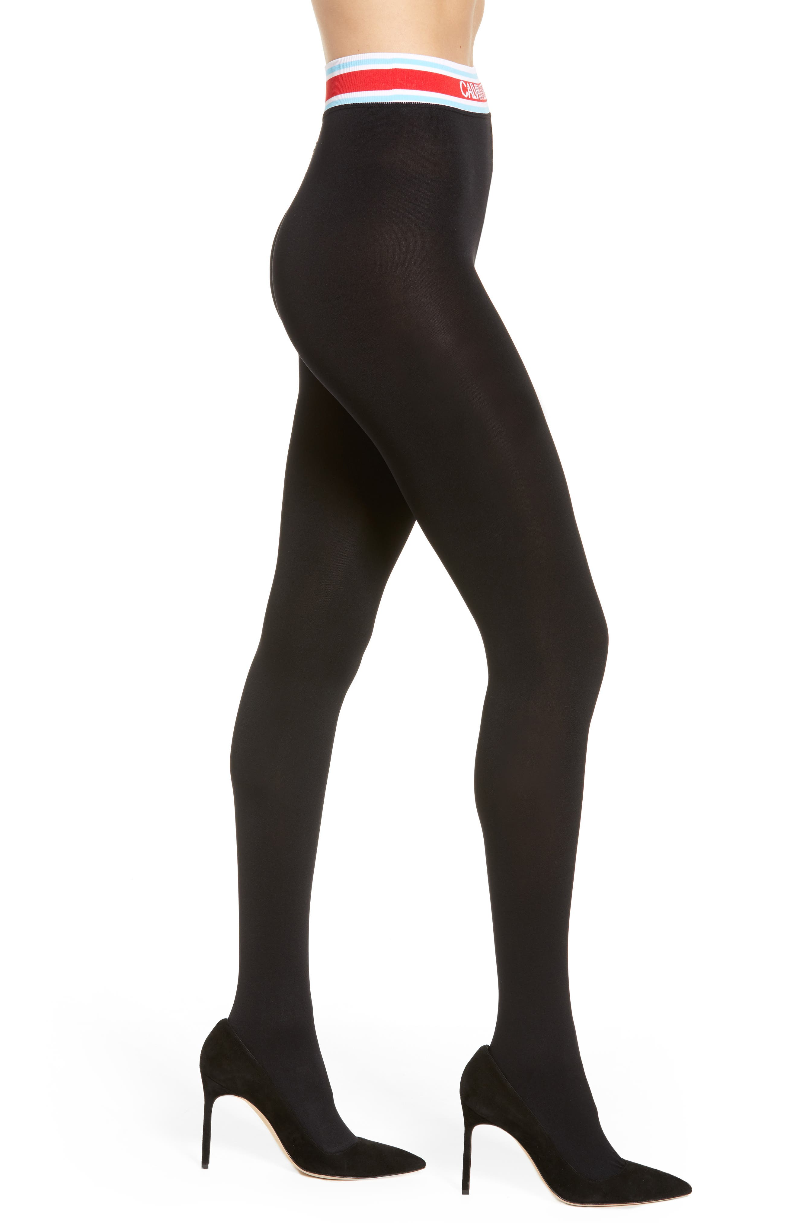 Logo Waistband Tights, Main, color, 001