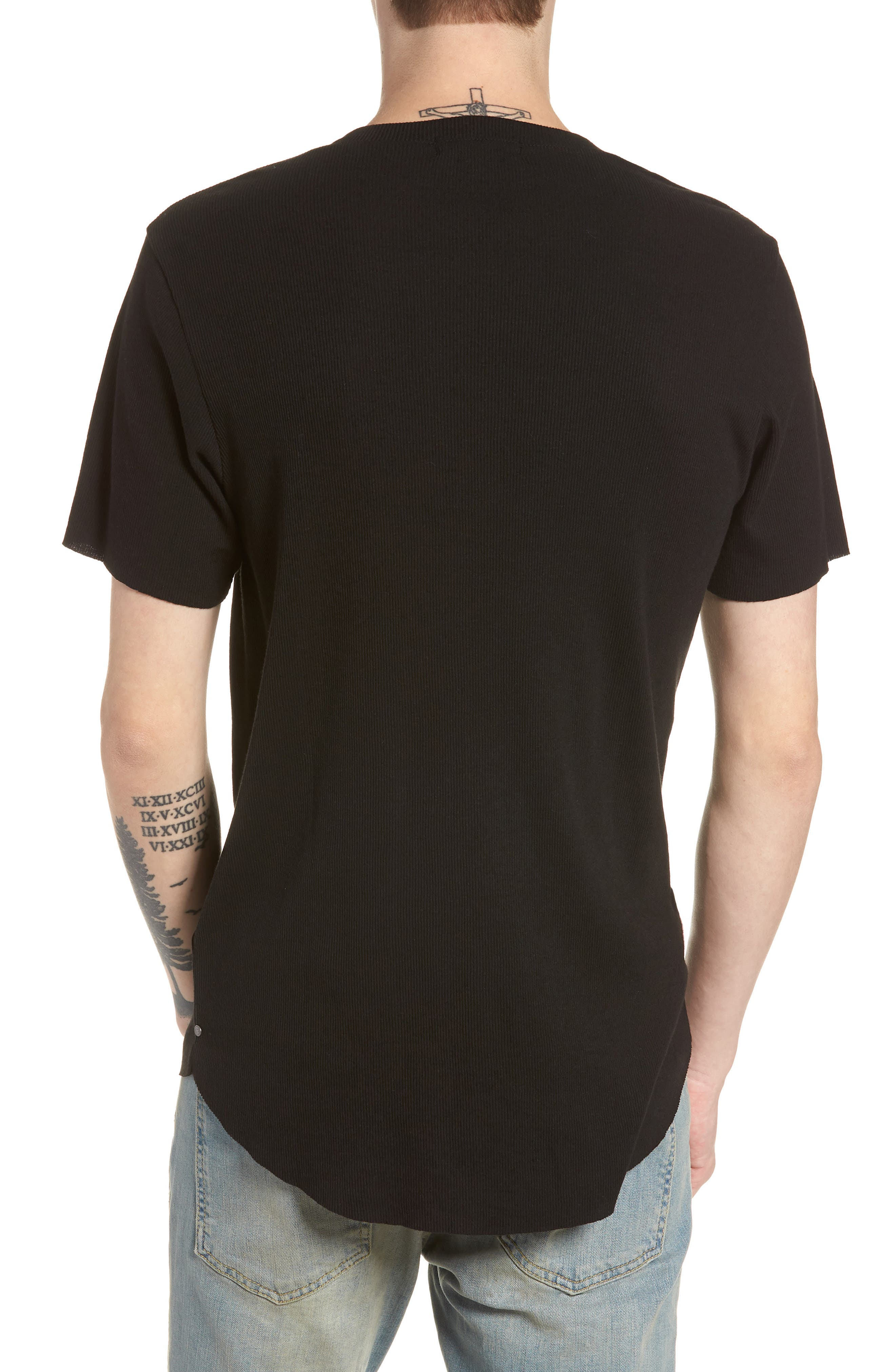 Ribbed Henley T-Shirt,                             Alternate thumbnail 2, color,                             001
